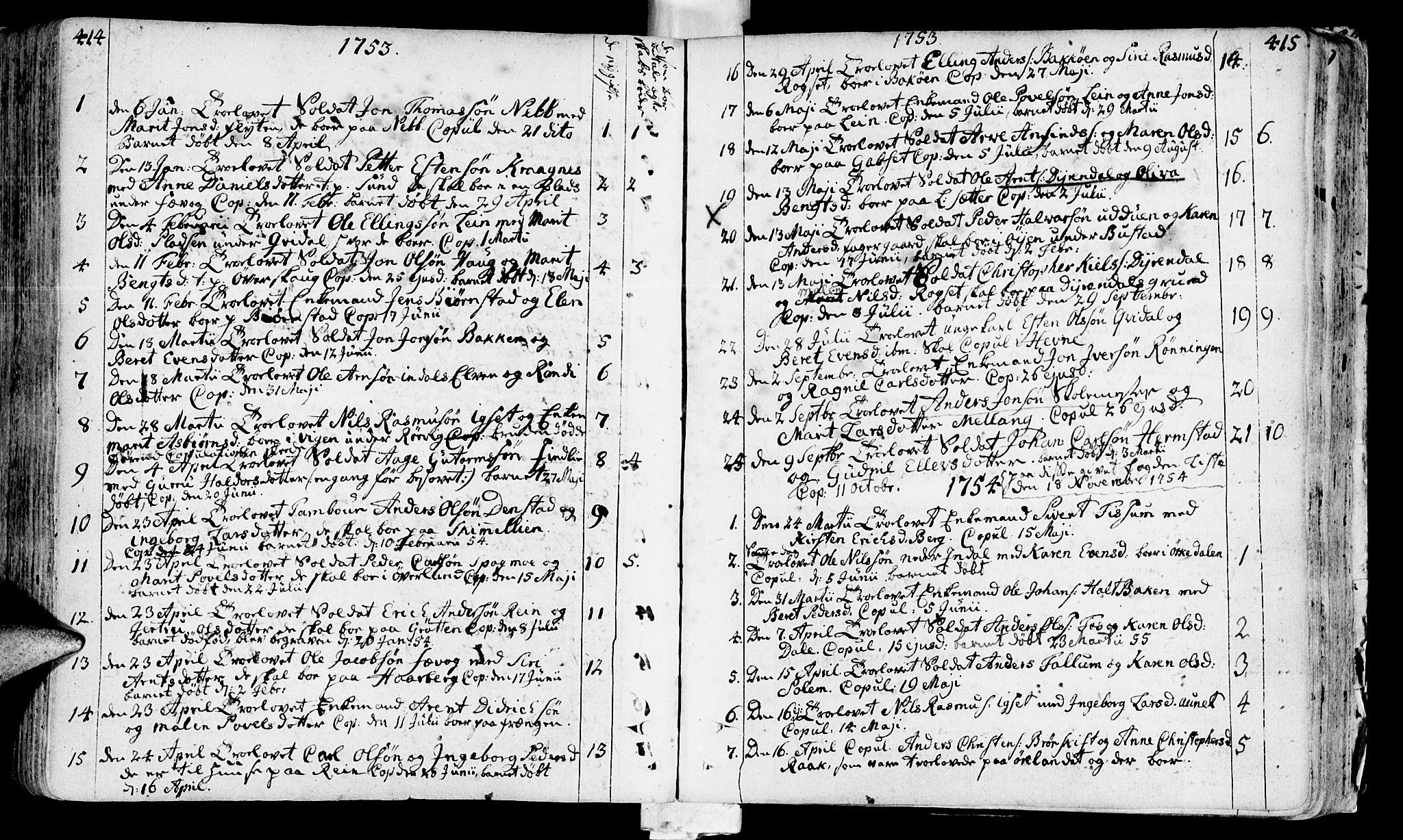 SAT, Ministerialprotokoller, klokkerbøker og fødselsregistre - Sør-Trøndelag, 646/L0605: Ministerialbok nr. 646A03, 1751-1790, s. 414-415