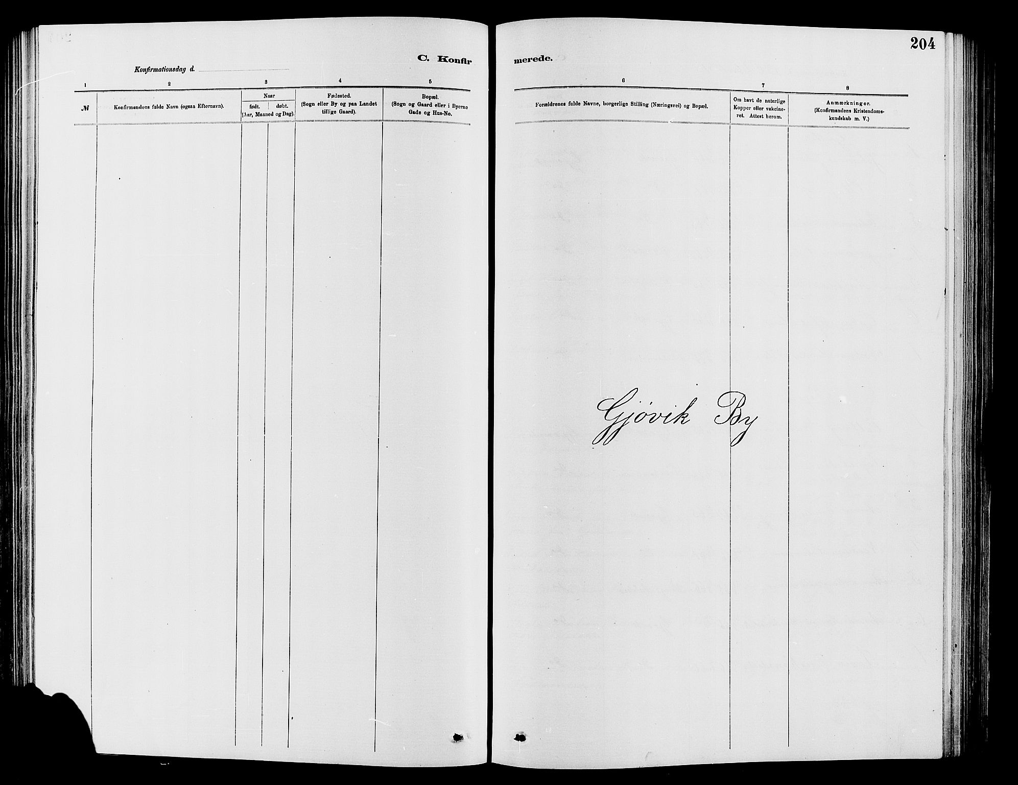 SAH, Vardal prestekontor, H/Ha/Hab/L0007: Klokkerbok nr. 7 /2, 1881-1895, s. 204