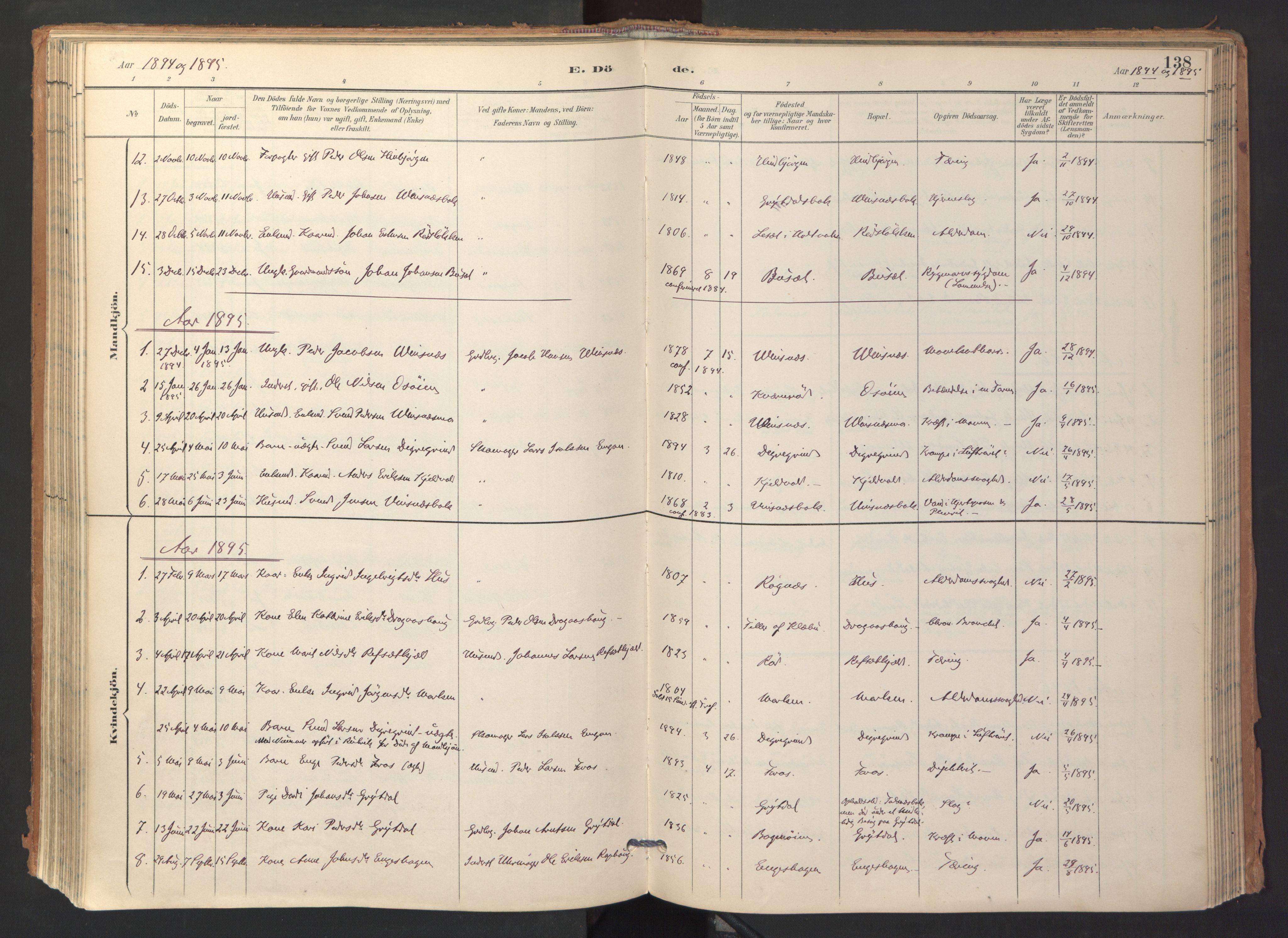 SAT, Ministerialprotokoller, klokkerbøker og fødselsregistre - Sør-Trøndelag, 688/L1025: Ministerialbok nr. 688A02, 1891-1909, s. 138