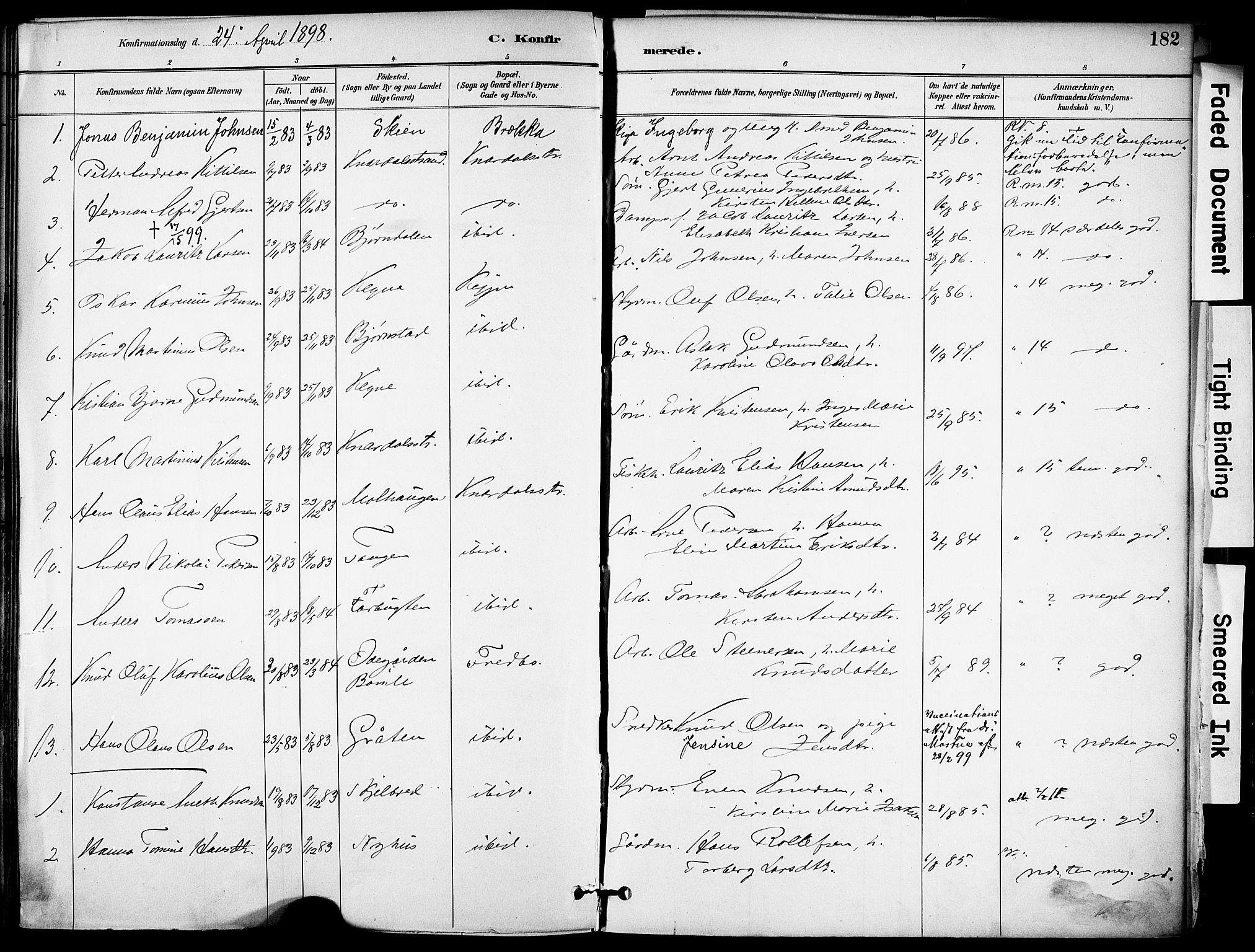 SAKO, Solum kirkebøker, F/Fa/L0010: Ministerialbok nr. I 10, 1888-1898, s. 182