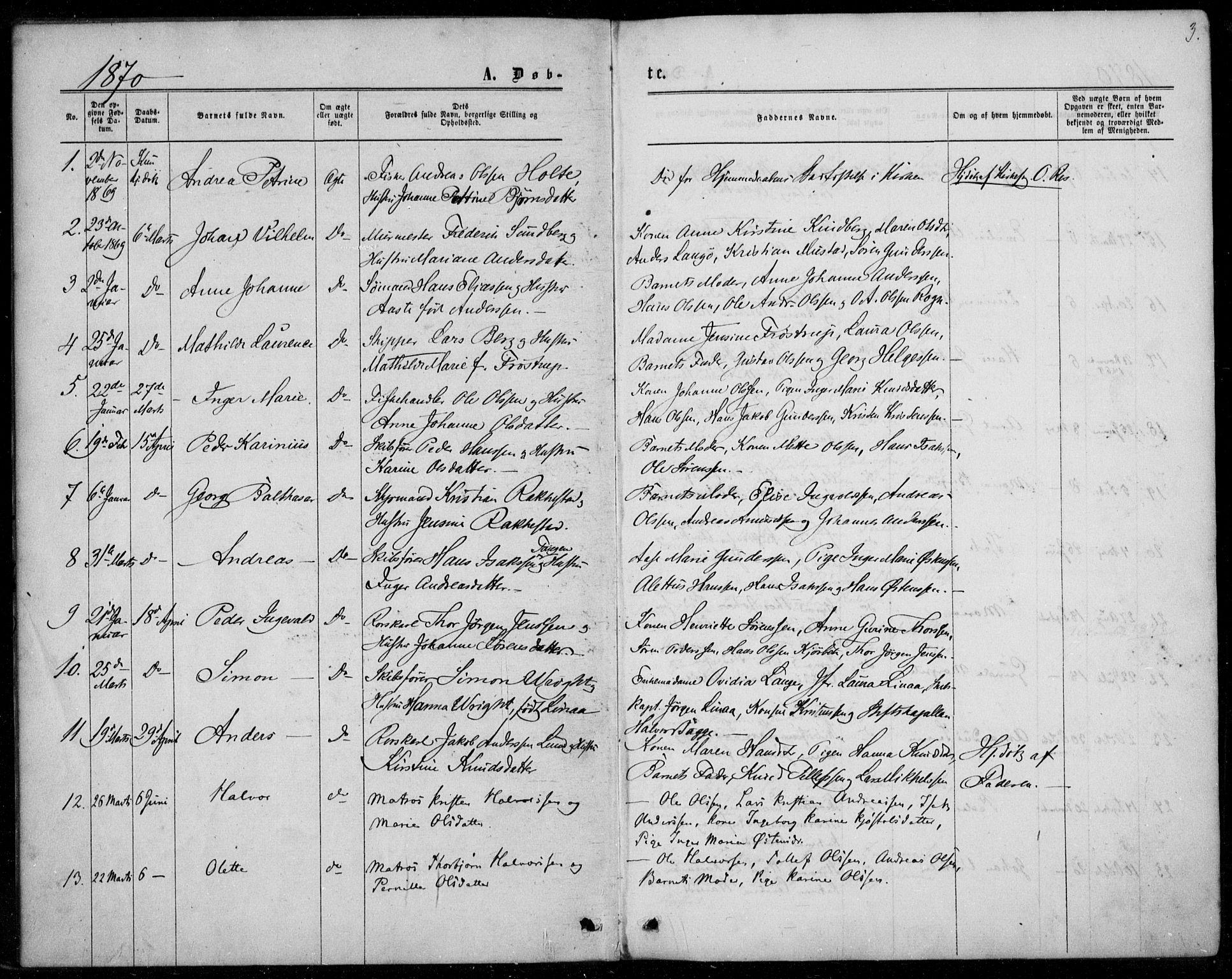 SAKO, Langesund kirkebøker, F/Fa/L0001: Ministerialbok nr. 1, 1870-1877, s. 3
