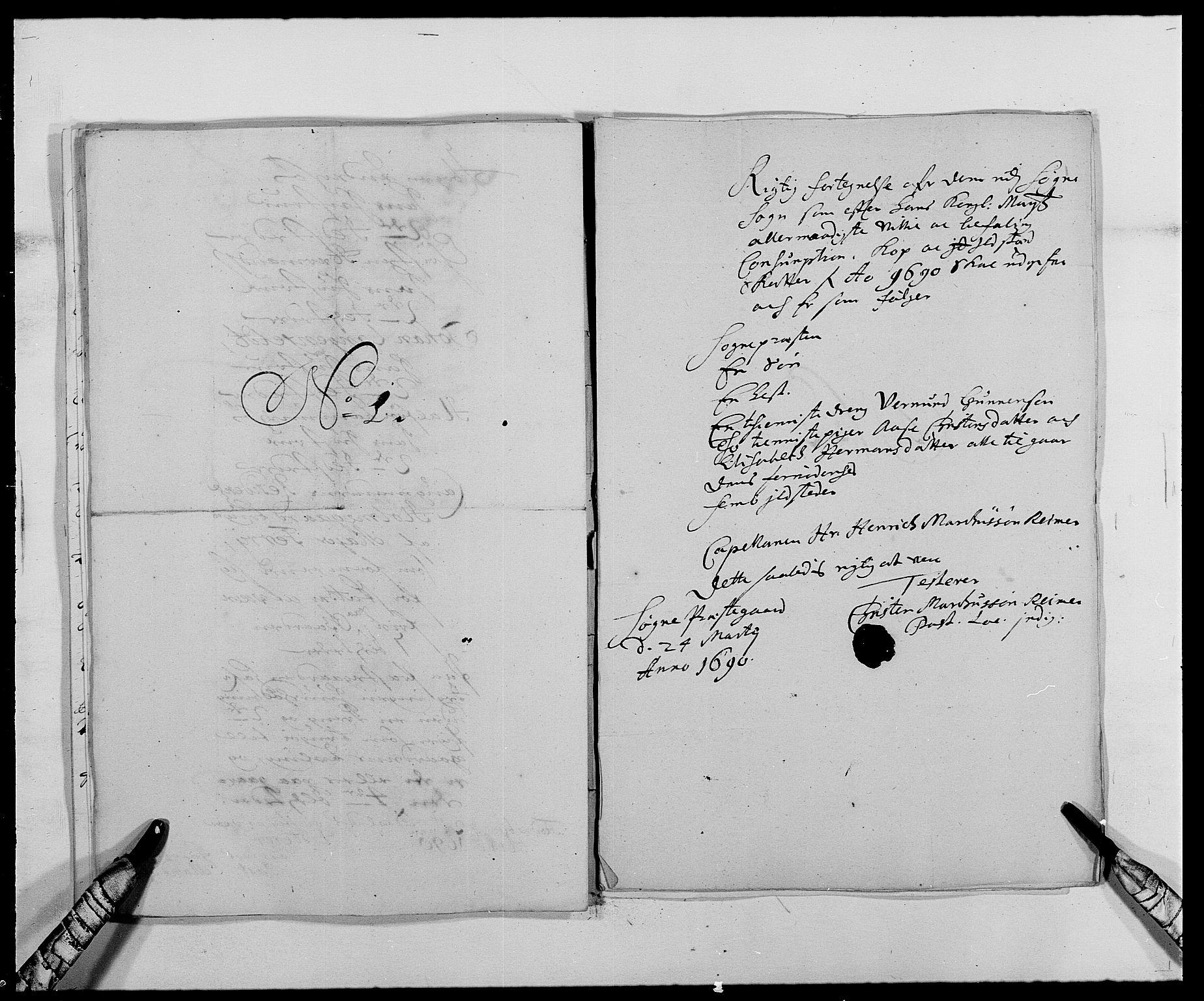 RA, Rentekammeret inntil 1814, Reviderte regnskaper, Fogderegnskap, R42/L2543: Mandal fogderi, 1688-1691, s. 199