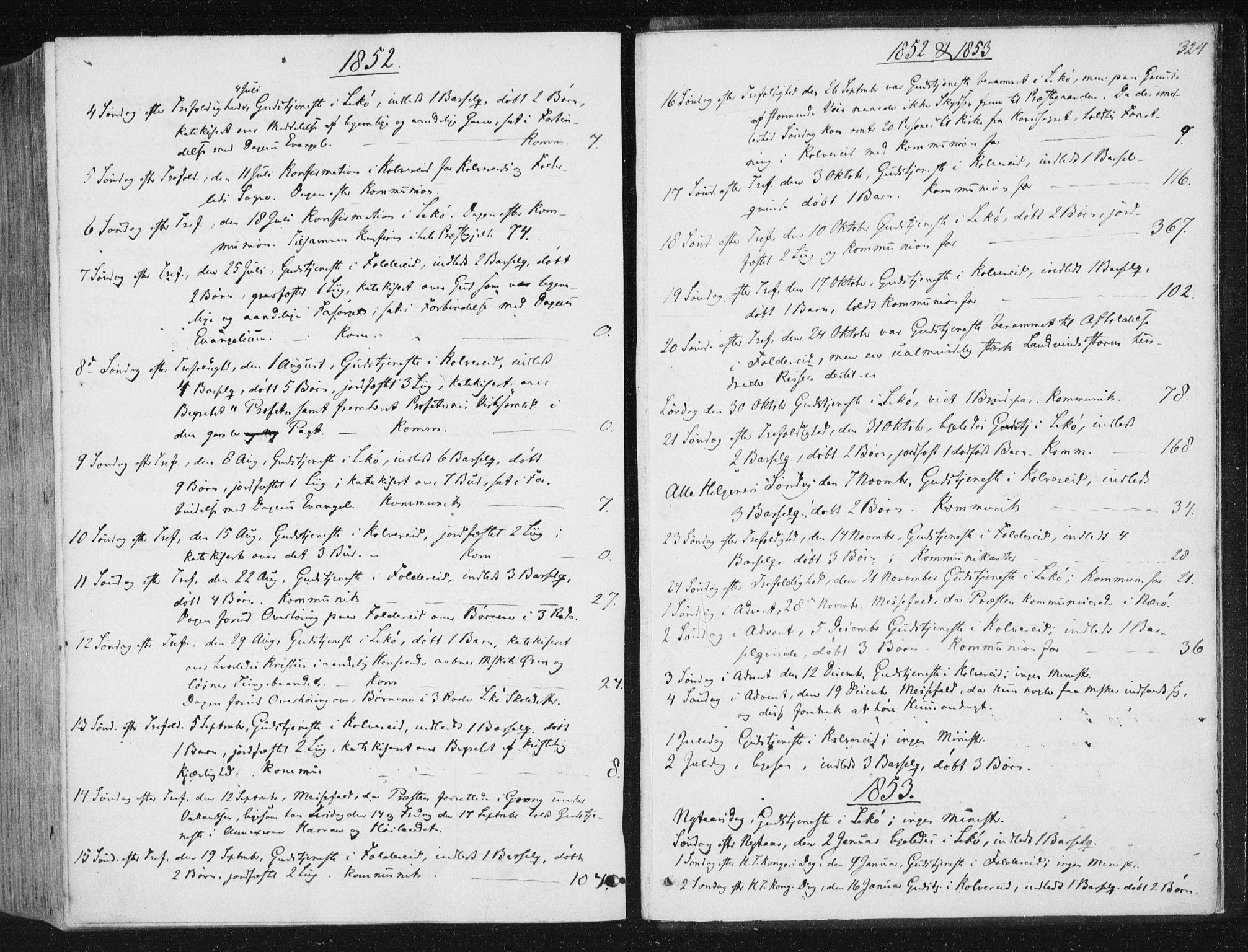 SAT, Ministerialprotokoller, klokkerbøker og fødselsregistre - Nord-Trøndelag, 780/L0640: Ministerialbok nr. 780A05, 1845-1856, s. 324