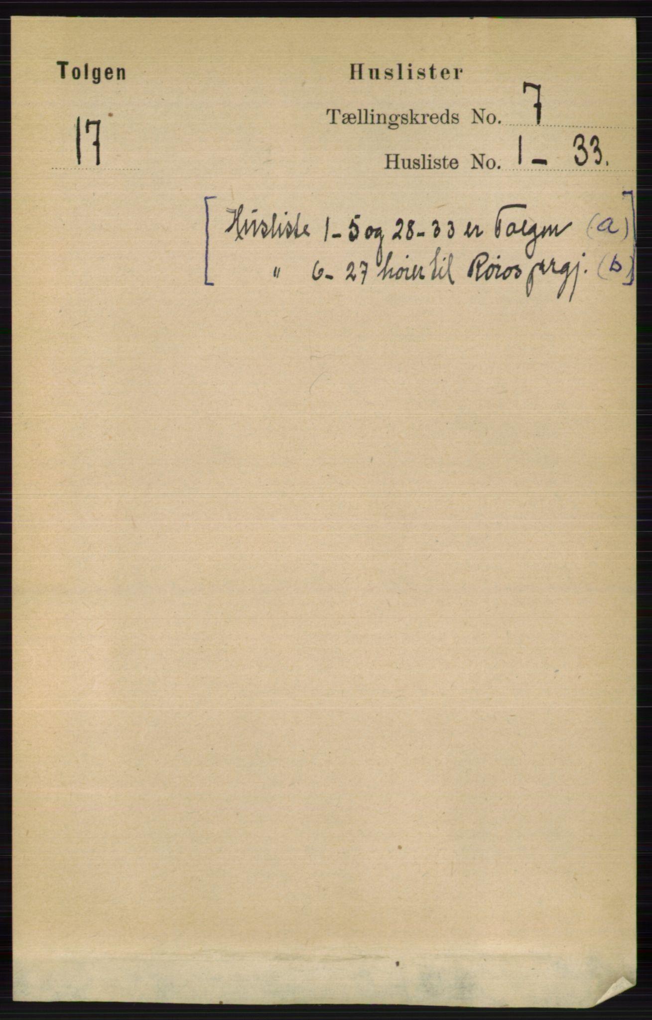 RA, Folketelling 1891 for 0436 Tolga herred, 1891, s. 1987