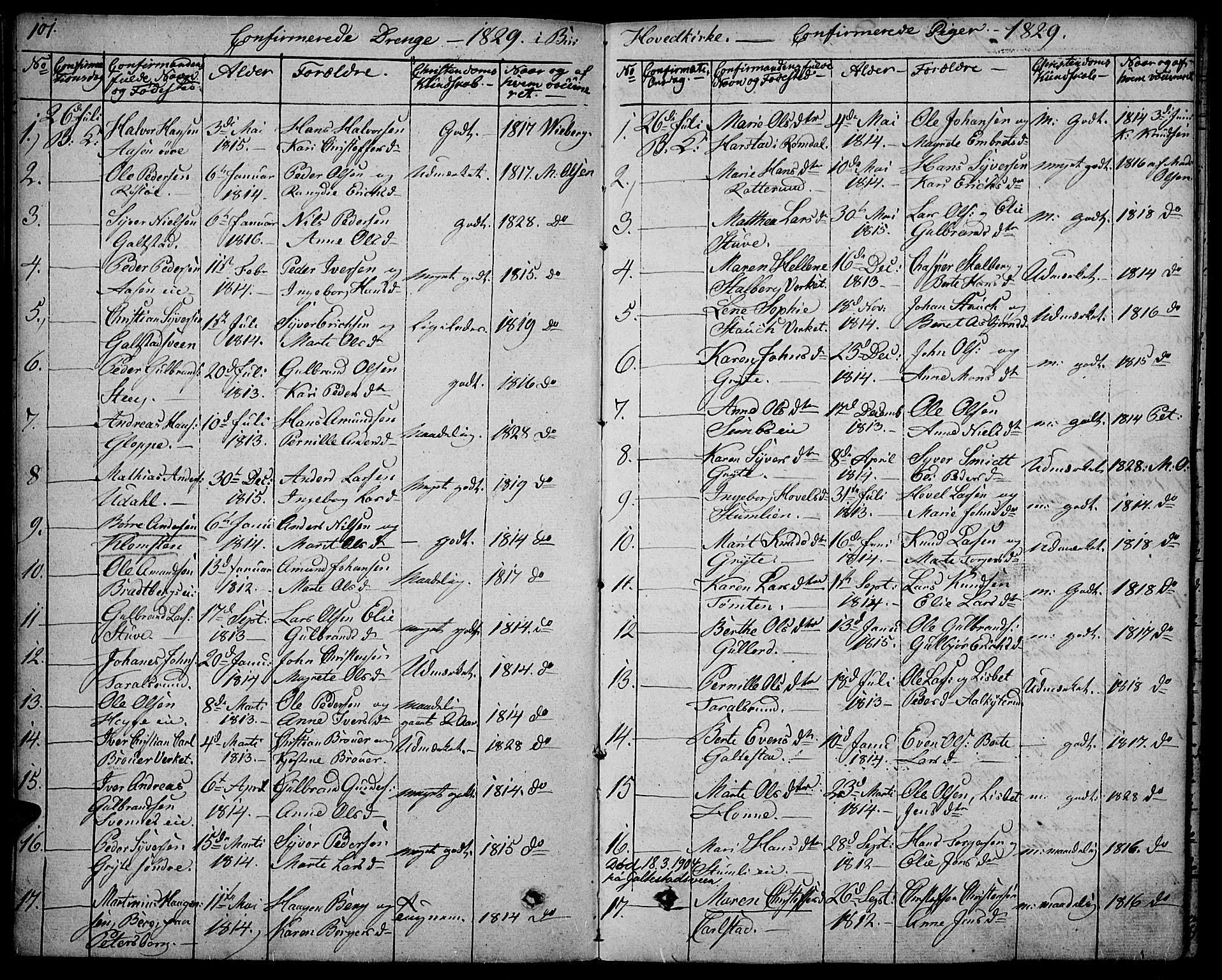 SAH, Biri prestekontor, Ministerialbok nr. 4, 1829-1842, s. 101