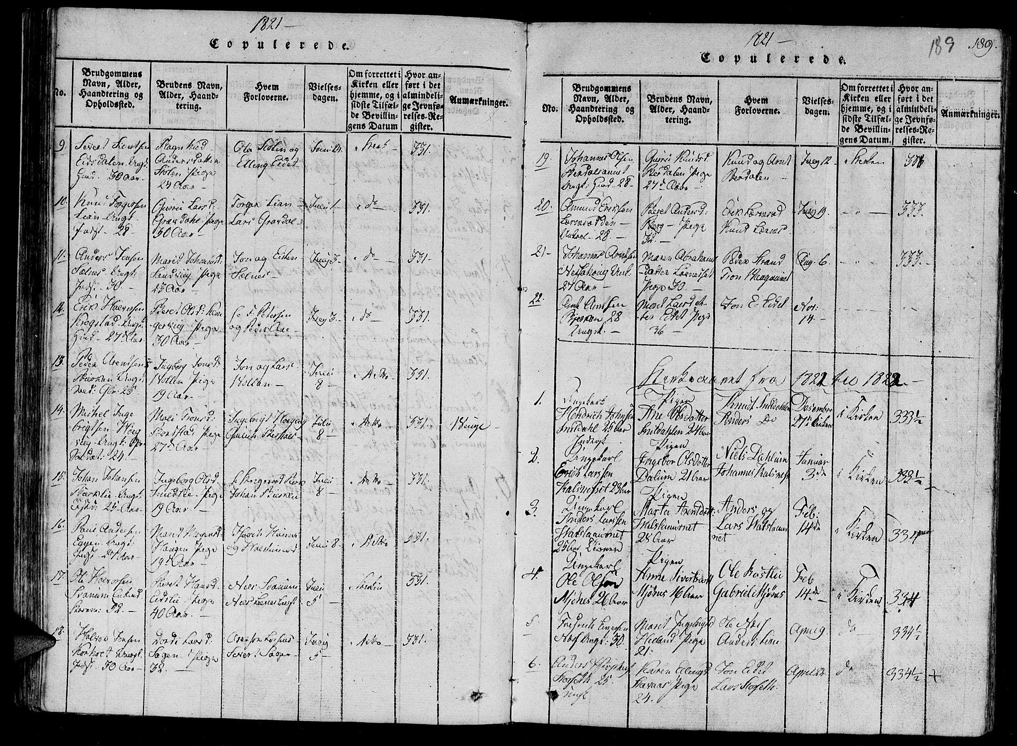 SAT, Ministerialprotokoller, klokkerbøker og fødselsregistre - Sør-Trøndelag, 630/L0491: Ministerialbok nr. 630A04, 1818-1830, s. 189