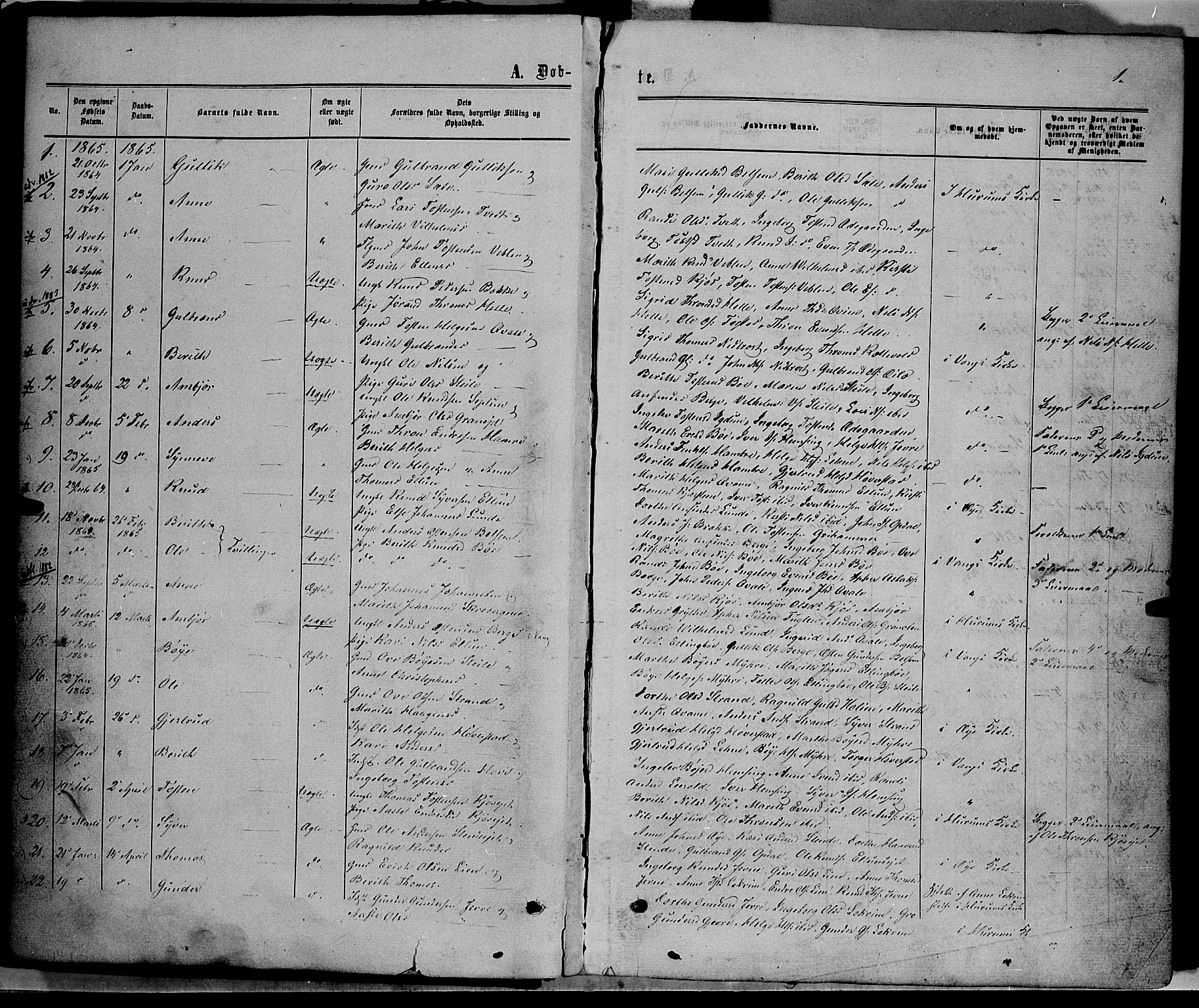 SAH, Vang prestekontor, Valdres, Ministerialbok nr. 7, 1865-1881, s. 1