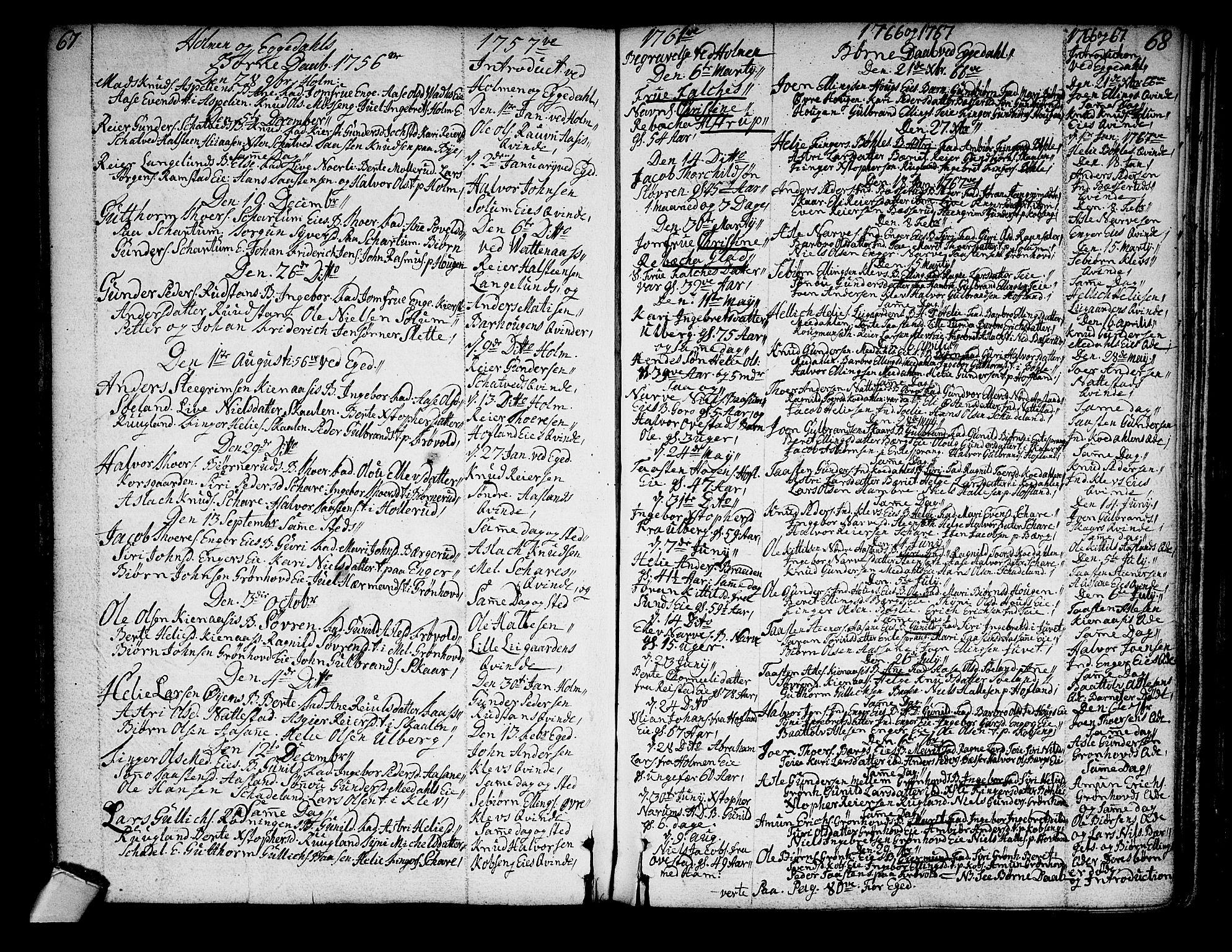 SAKO, Sigdal kirkebøker, F/Fa/L0001: Ministerialbok nr. I 1, 1722-1777, s. 67-68
