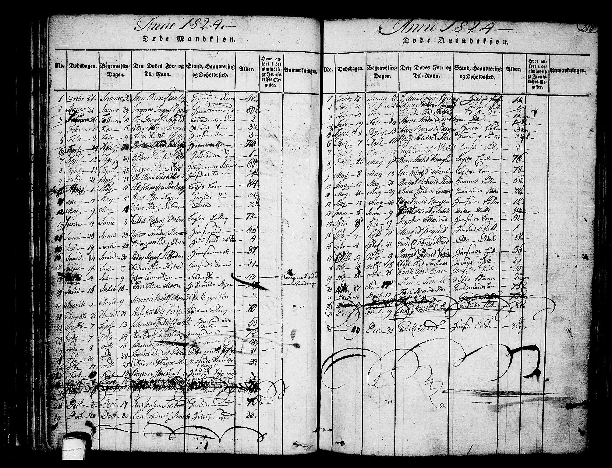 SAKO, Heddal kirkebøker, F/Fa/L0005: Ministerialbok nr. I 5, 1814-1837, s. 215-216