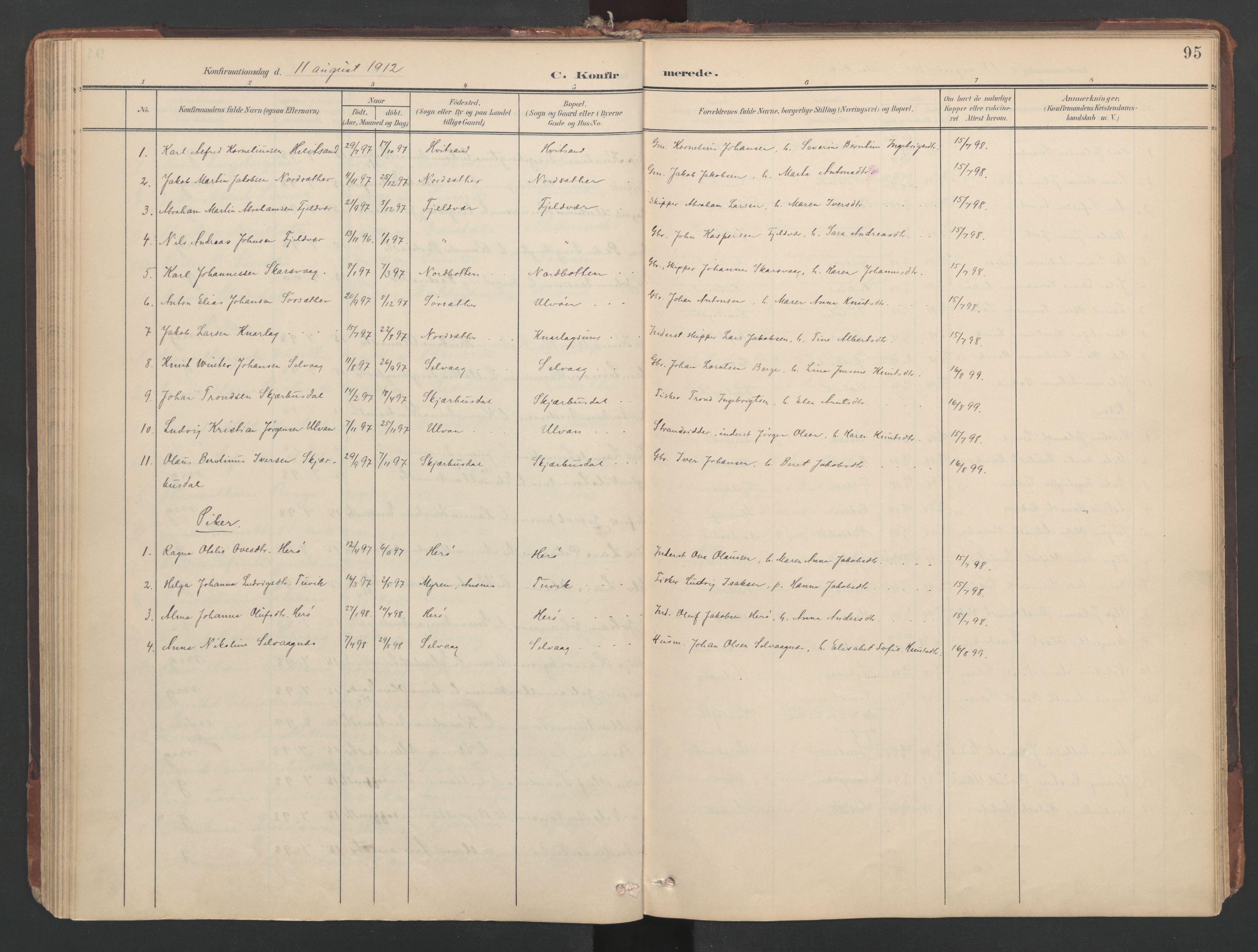 SAT, Ministerialprotokoller, klokkerbøker og fødselsregistre - Sør-Trøndelag, 638/L0568: Ministerialbok nr. 638A01, 1901-1916, s. 95