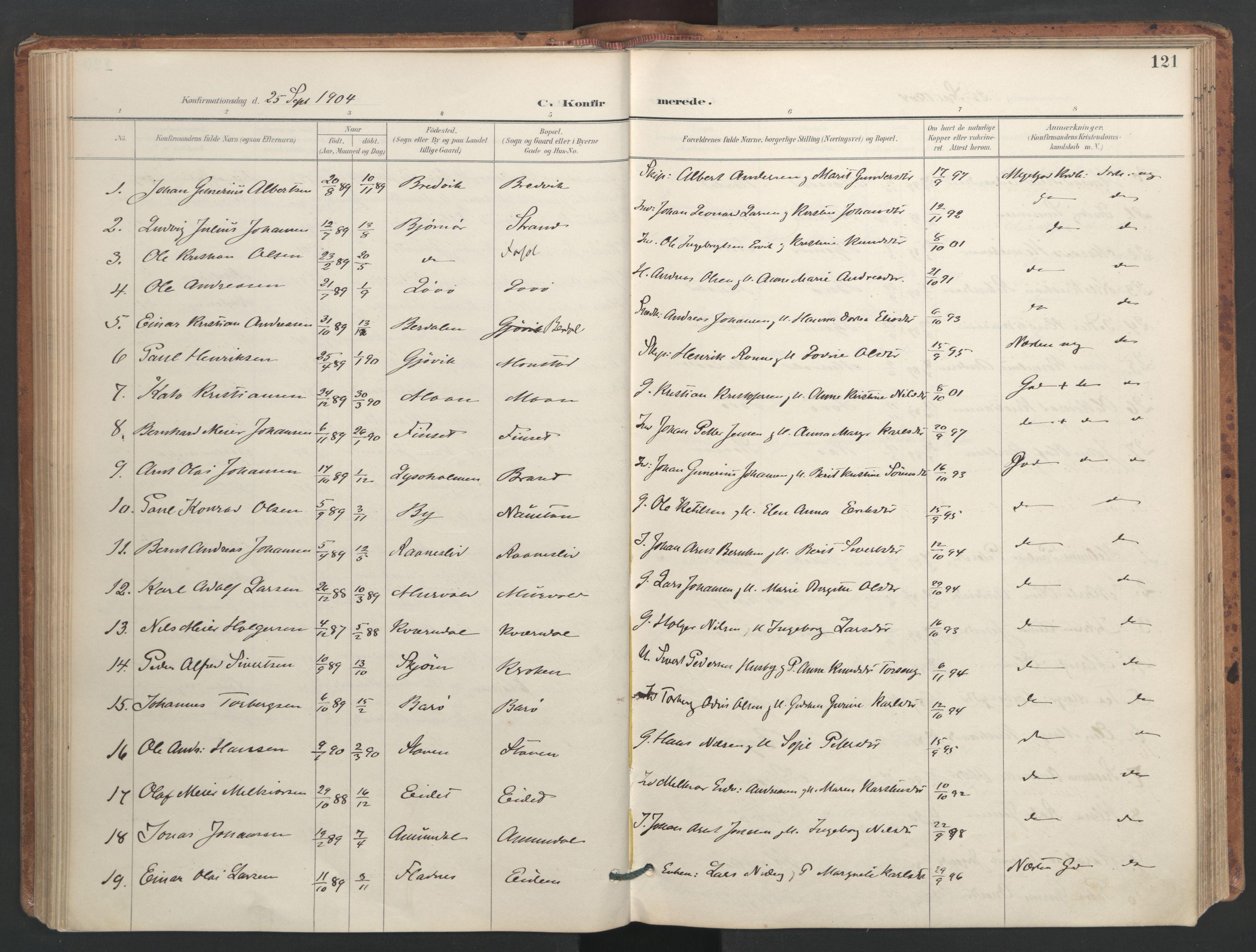 SAT, Ministerialprotokoller, klokkerbøker og fødselsregistre - Sør-Trøndelag, 655/L0681: Ministerialbok nr. 655A10, 1895-1907, s. 121
