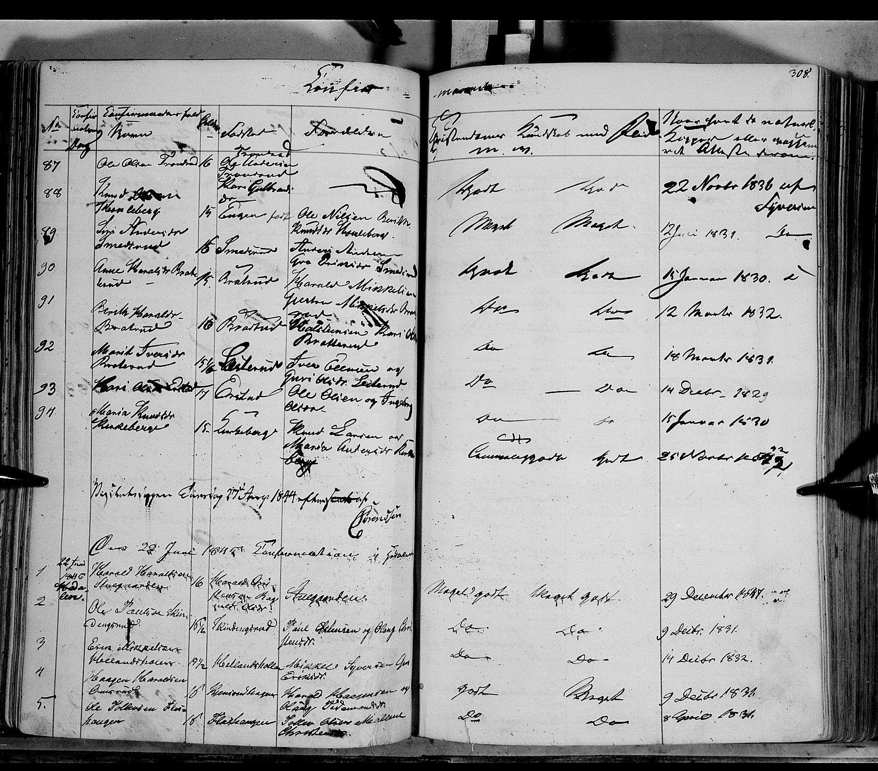 SAH, Sør-Aurdal prestekontor, Ministerialbok nr. 4, 1841-1849, s. 307-308
