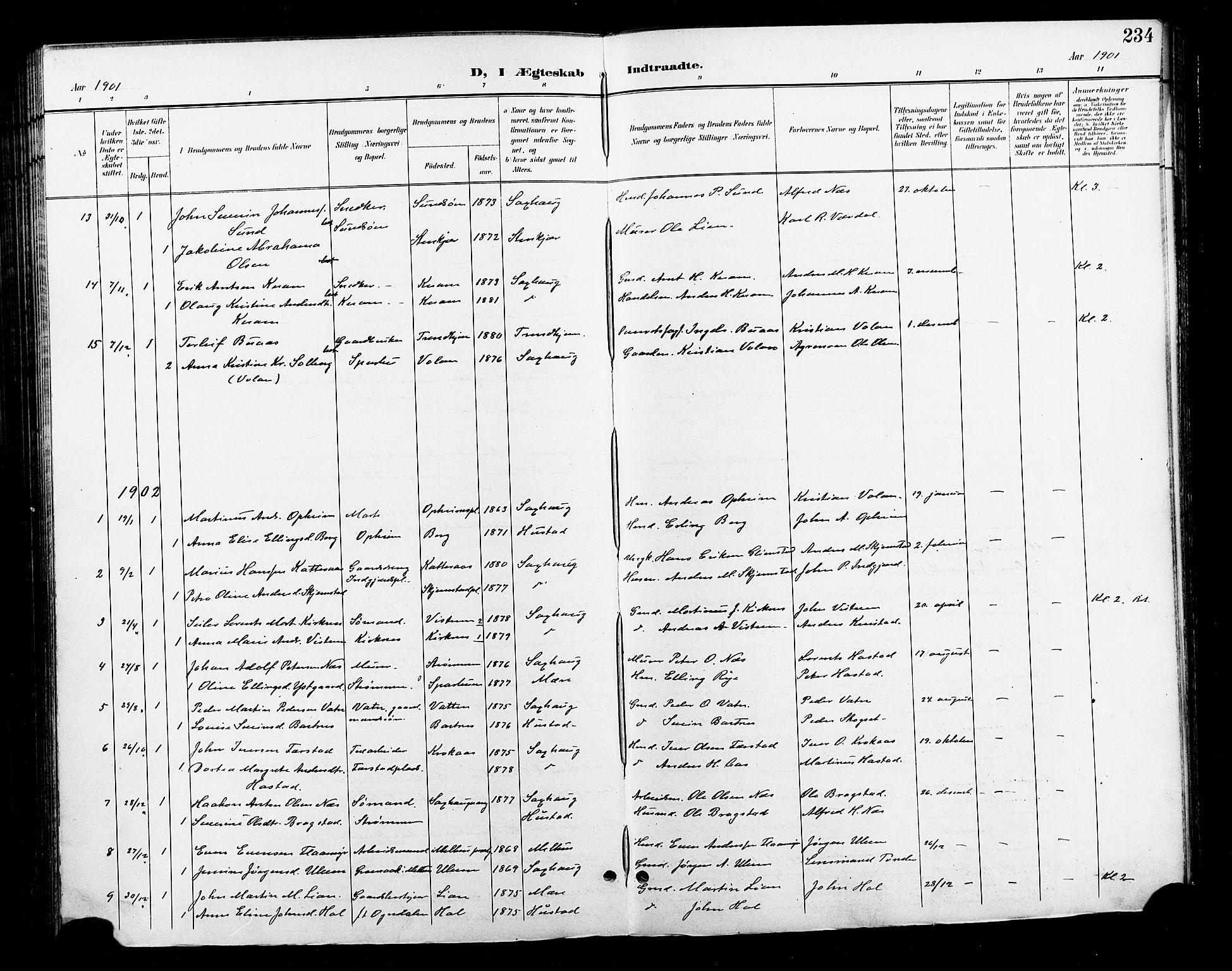 SAT, Ministerialprotokoller, klokkerbøker og fødselsregistre - Nord-Trøndelag, 730/L0302: Klokkerbok nr. 730C05, 1898-1924, s. 234