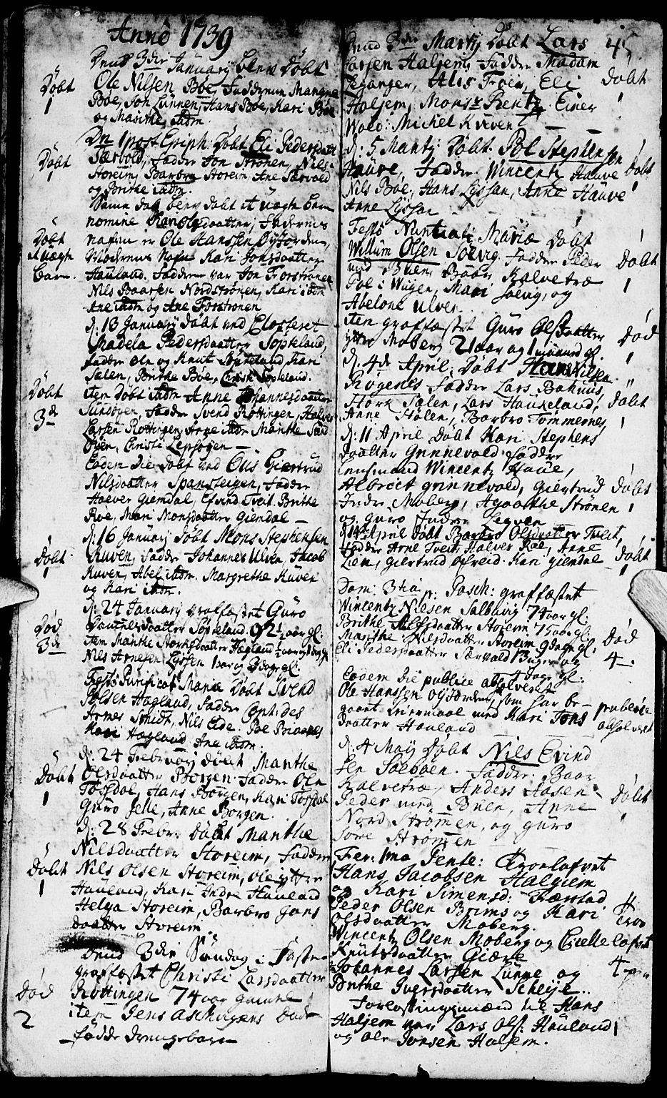 SAB, Os sokneprestembete*, Ministerialbok nr. A 2, 1723-1758, s. 45