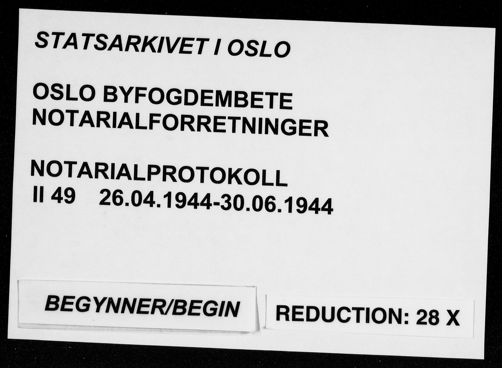 SAO, Oslo byfogd avd. I, L/Lb/Lbb/L0049: Notarialprotokoll, rekke II: Vigsler, 1944, s. upaginert