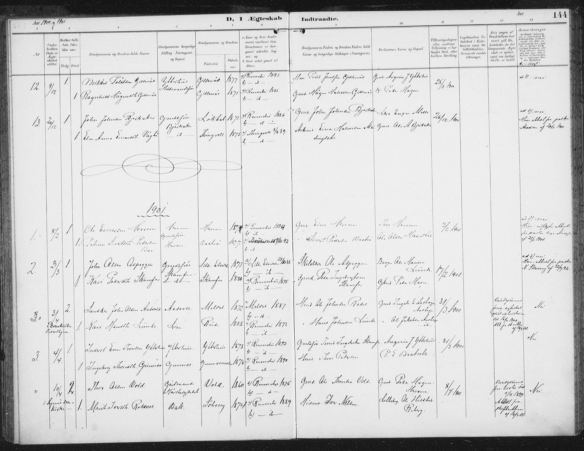 SAT, Ministerialprotokoller, klokkerbøker og fødselsregistre - Sør-Trøndelag, 674/L0872: Ministerialbok nr. 674A04, 1897-1907, s. 144