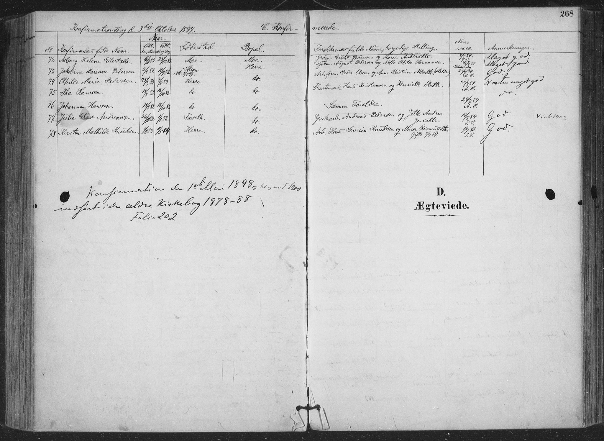 SAKO, Bamble kirkebøker, F/Fa/L0008: Ministerialbok nr. I 8, 1888-1900, s. 268