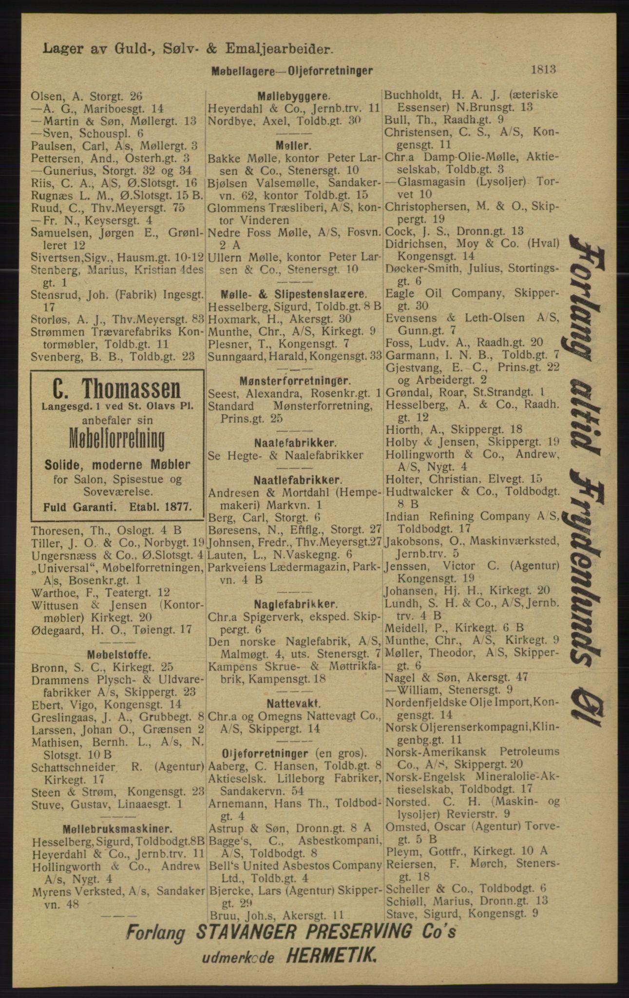 RA, Kristiania adressebok (publikasjon)*, 1913, s. 1813