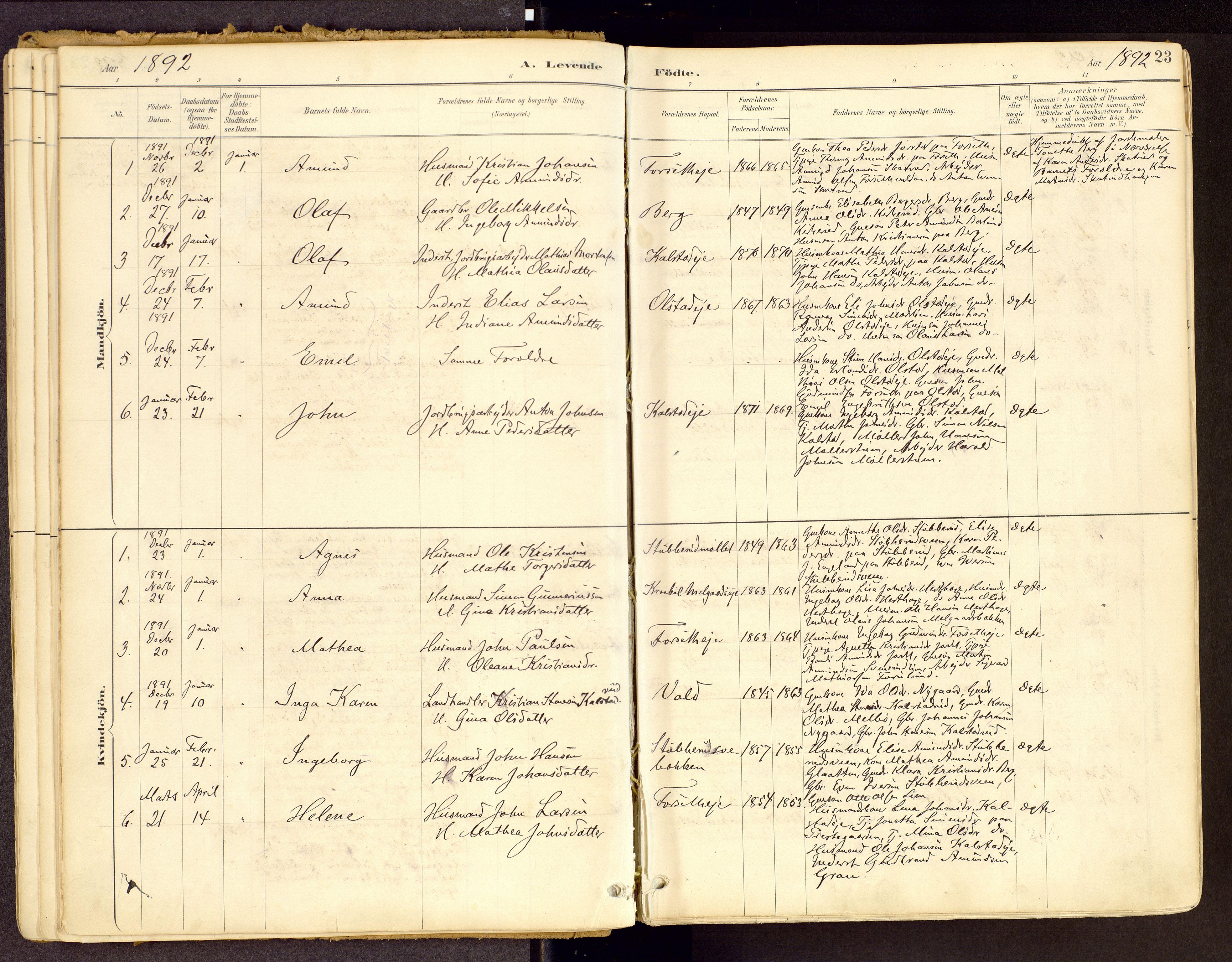 SAH, Vestre Gausdal prestekontor, Ministerialbok nr. 1, 1887-1914, s. 23