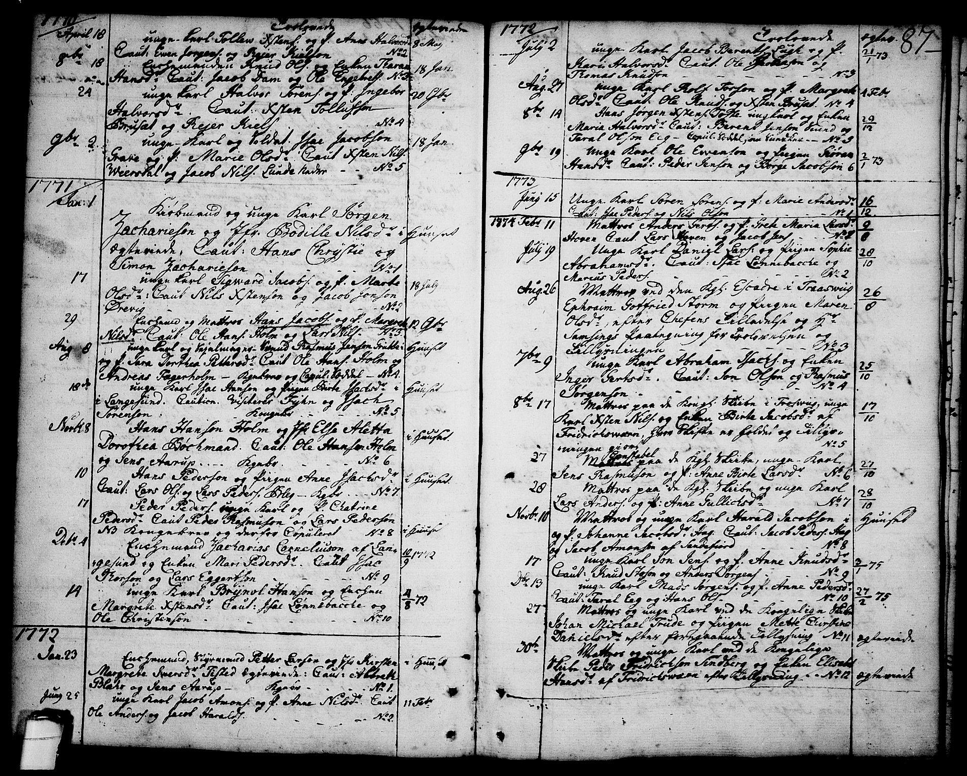 SAKO, Brevik kirkebøker, F/Fa/L0003: Ministerialbok nr. 3, 1764-1814, s. 87