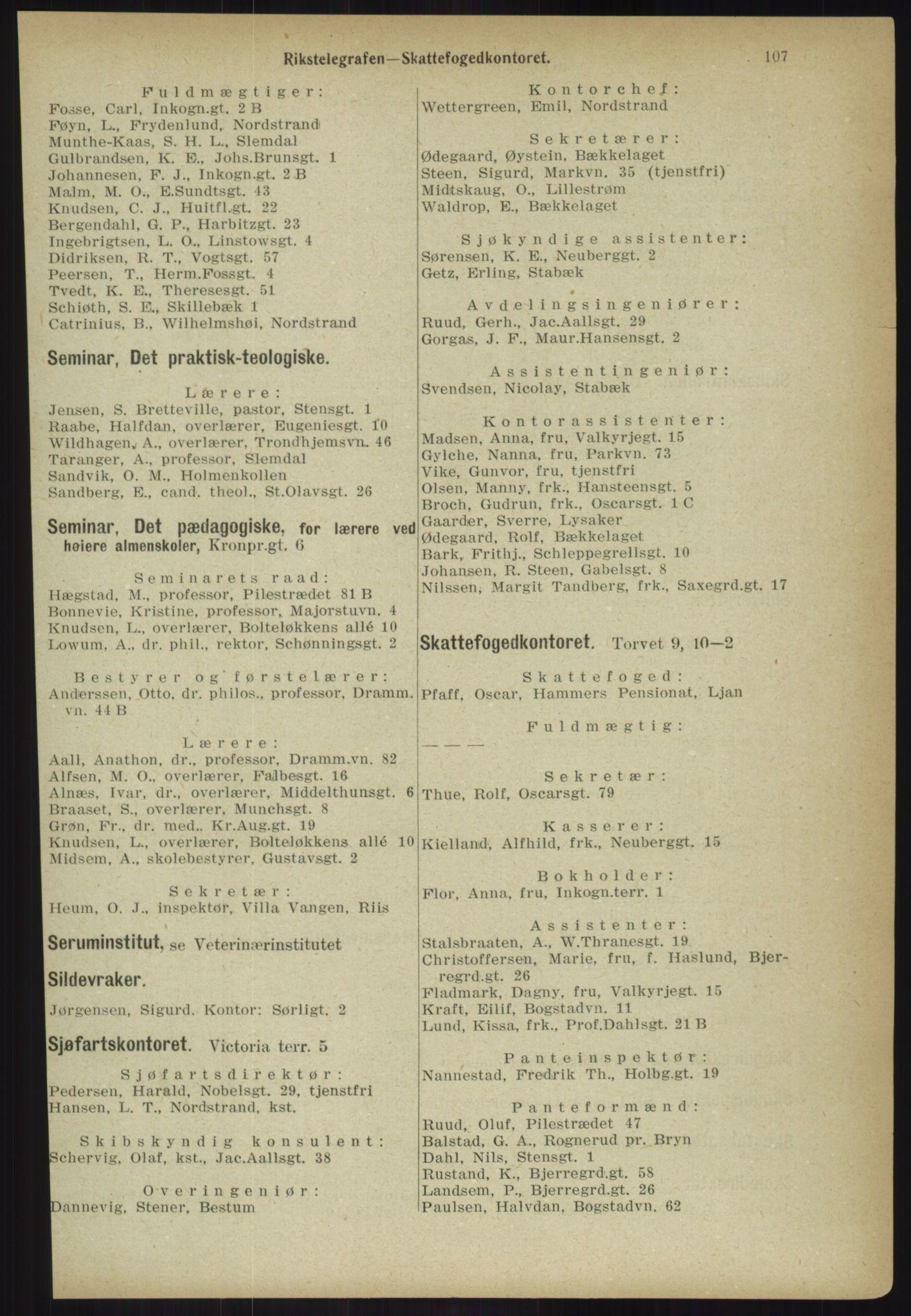 RA, Kristiania adressebok (publikasjon)*, 1918, s. 107