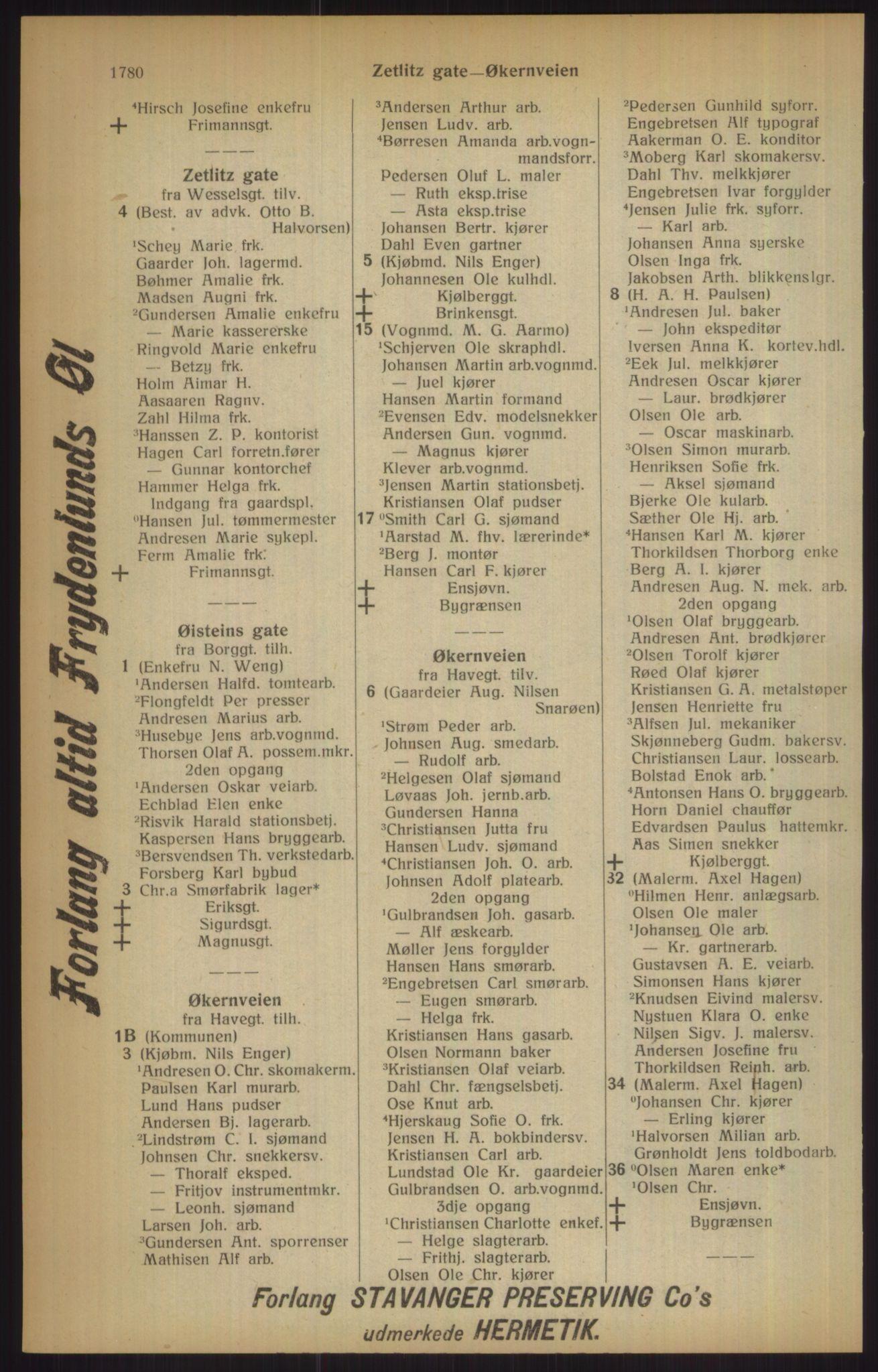 RA, Kristiania adressebok (publikasjon)*, 1915, s. 1780