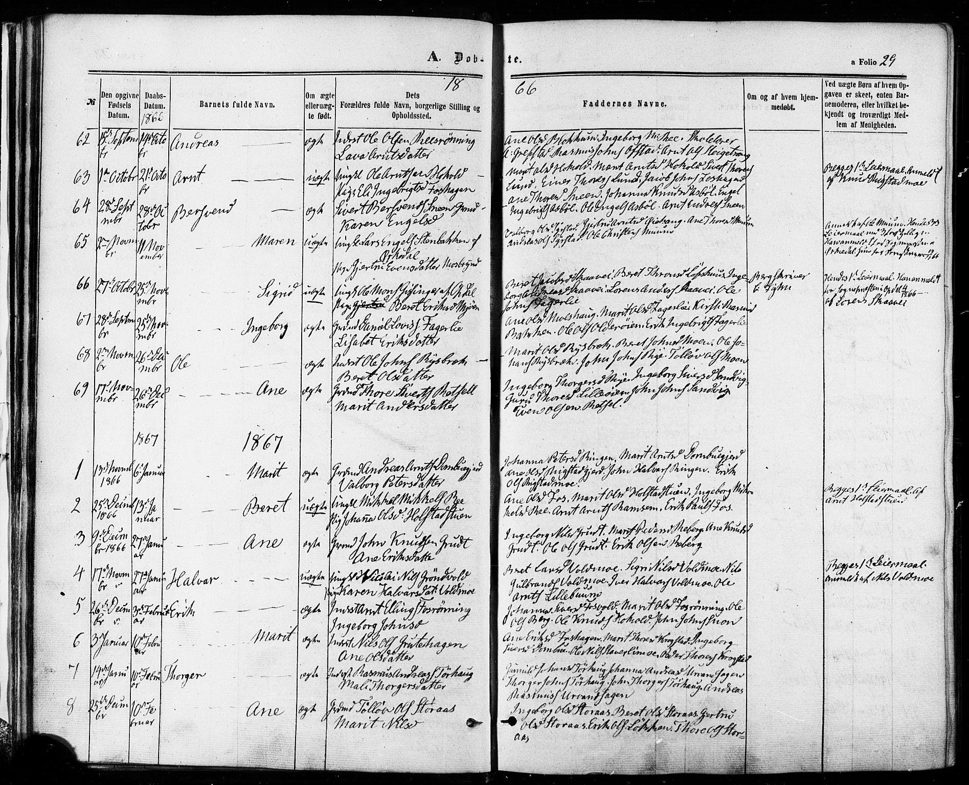 SAT, Ministerialprotokoller, klokkerbøker og fødselsregistre - Sør-Trøndelag, 672/L0856: Ministerialbok nr. 672A08, 1861-1881, s. 29