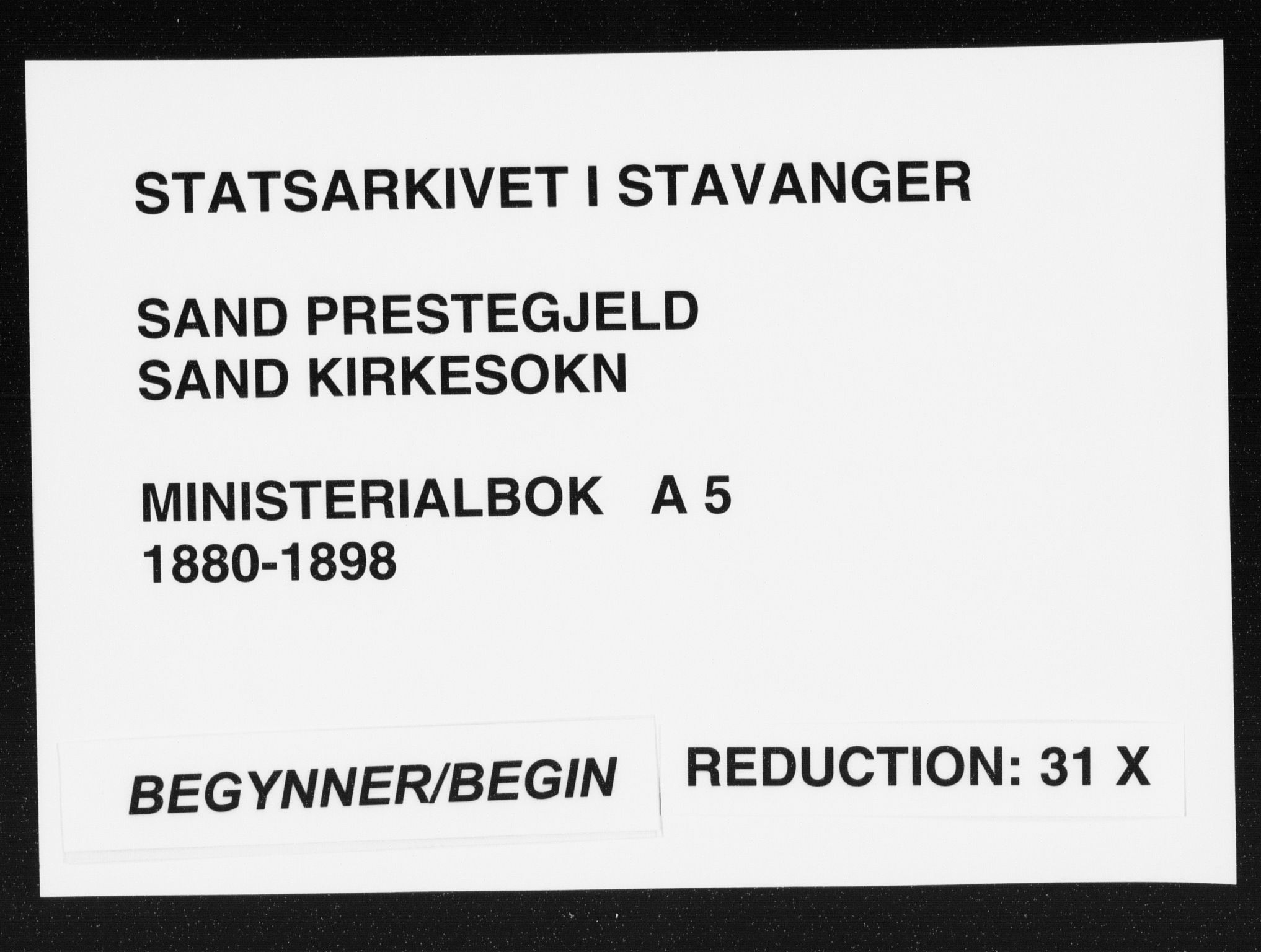 SAST, Sand sokneprestkontor, III/L0005: Ministerialbok nr. A 5, 1880-1898