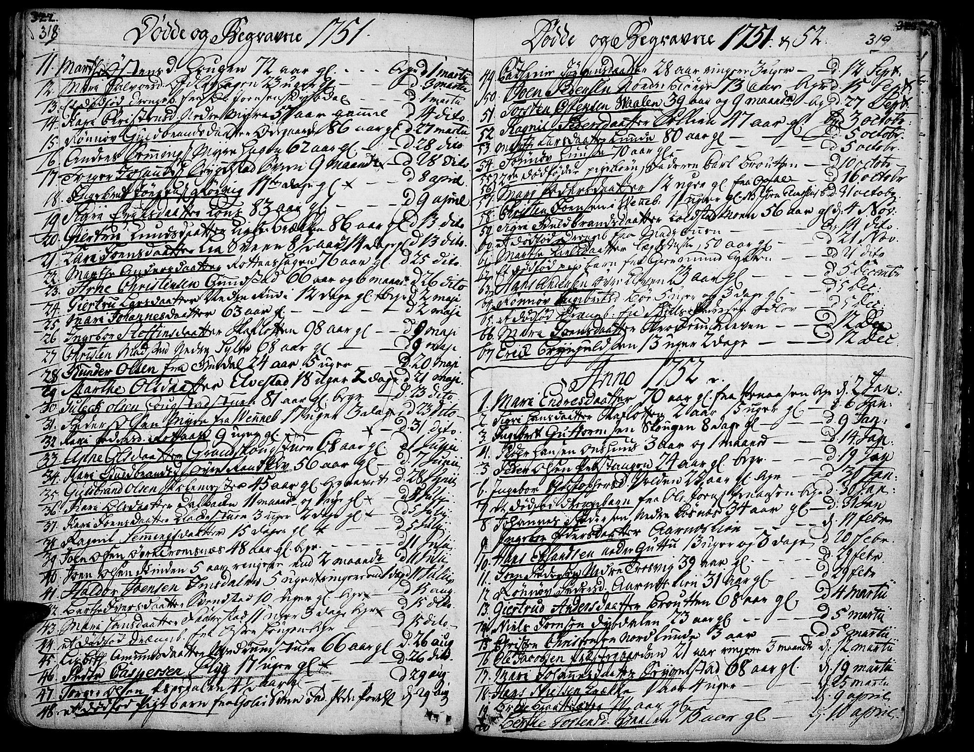 SAH, Ringebu prestekontor, Ministerialbok nr. 2, 1734-1780, s. 318-319