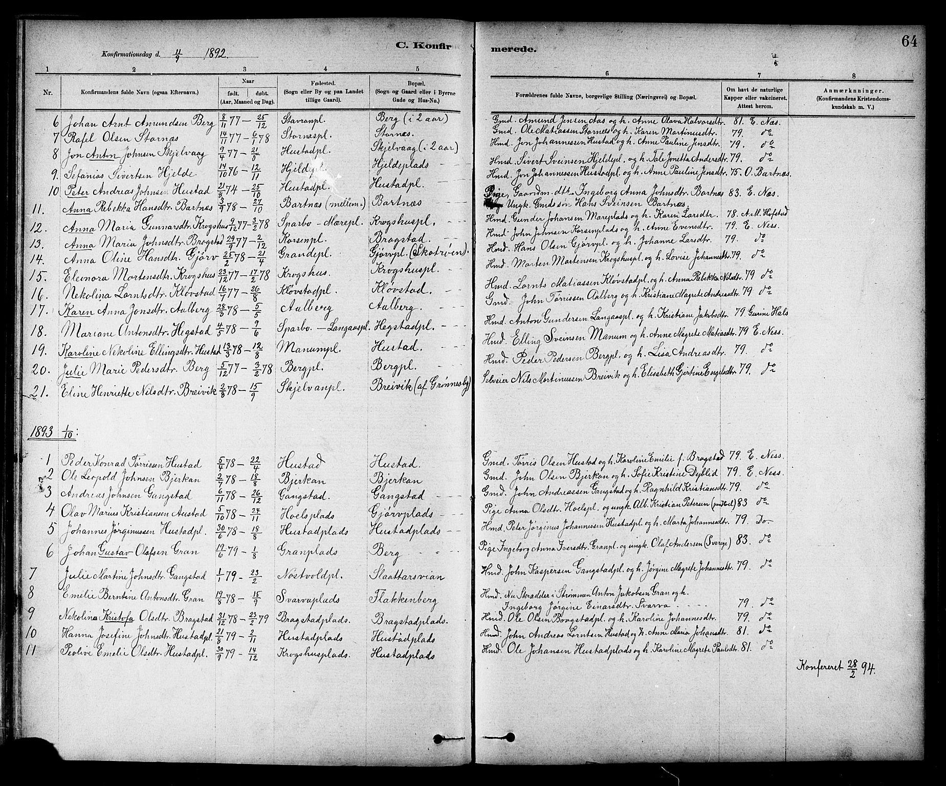 SAT, Ministerialprotokoller, klokkerbøker og fødselsregistre - Nord-Trøndelag, 732/L0318: Klokkerbok nr. 732C02, 1881-1911, s. 64