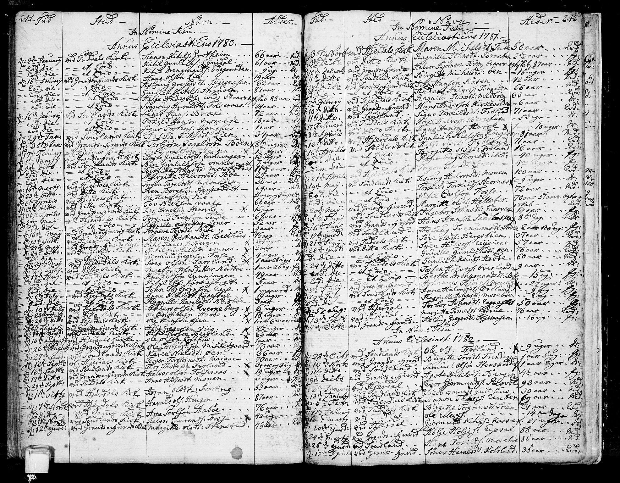 SAKO, Hjartdal kirkebøker, F/Fa/L0005: Ministerialbok nr. I 5, 1776-1801, s. 241-242