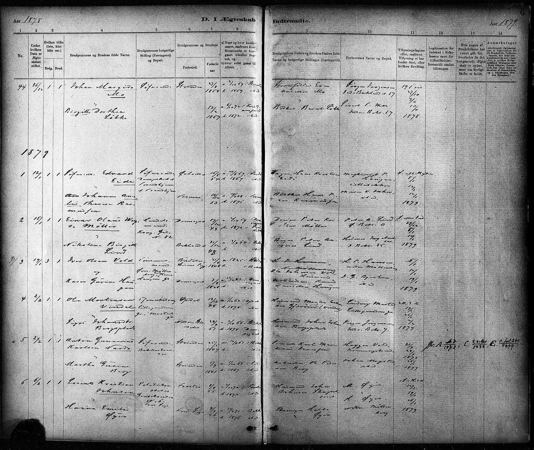 SAT, Ministerialprotokoller, klokkerbøker og fødselsregistre - Sør-Trøndelag, 604/L0189: Ministerialbok nr. 604A10, 1878-1892, s. 6