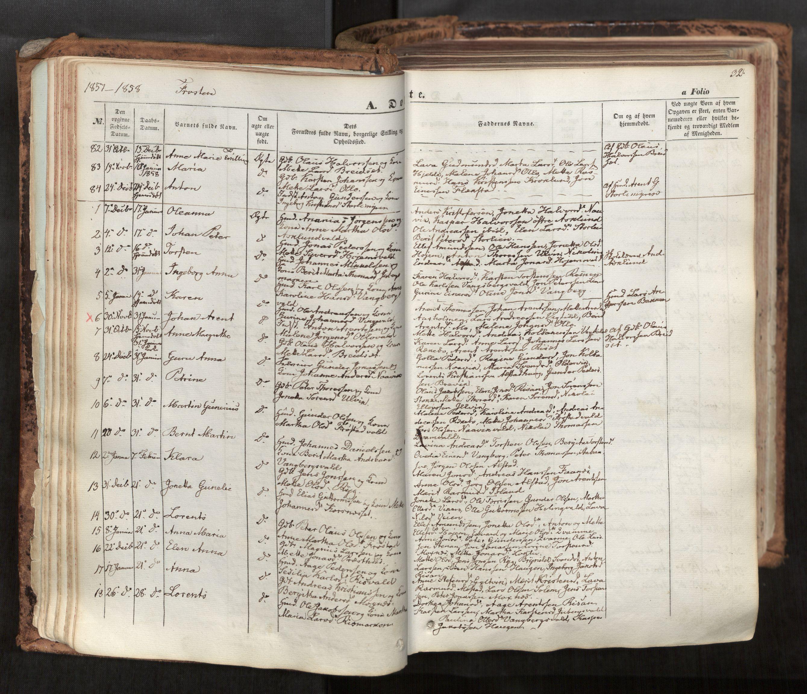 SAT, Ministerialprotokoller, klokkerbøker og fødselsregistre - Nord-Trøndelag, 713/L0116: Ministerialbok nr. 713A07, 1850-1877, s. 32