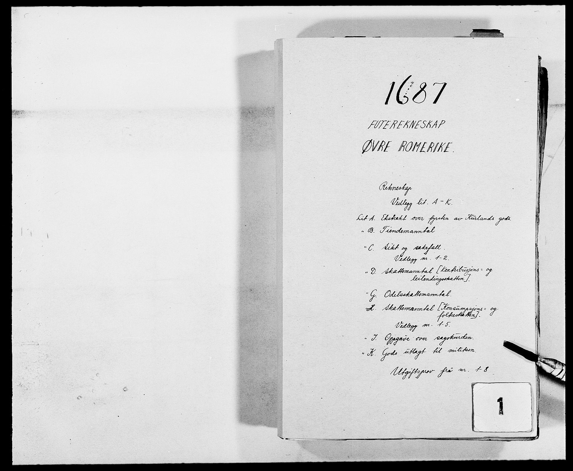 RA, Rentekammeret inntil 1814, Reviderte regnskaper, Fogderegnskap, R12/L0700: Fogderegnskap Øvre Romerike, 1687-1688, s. 1