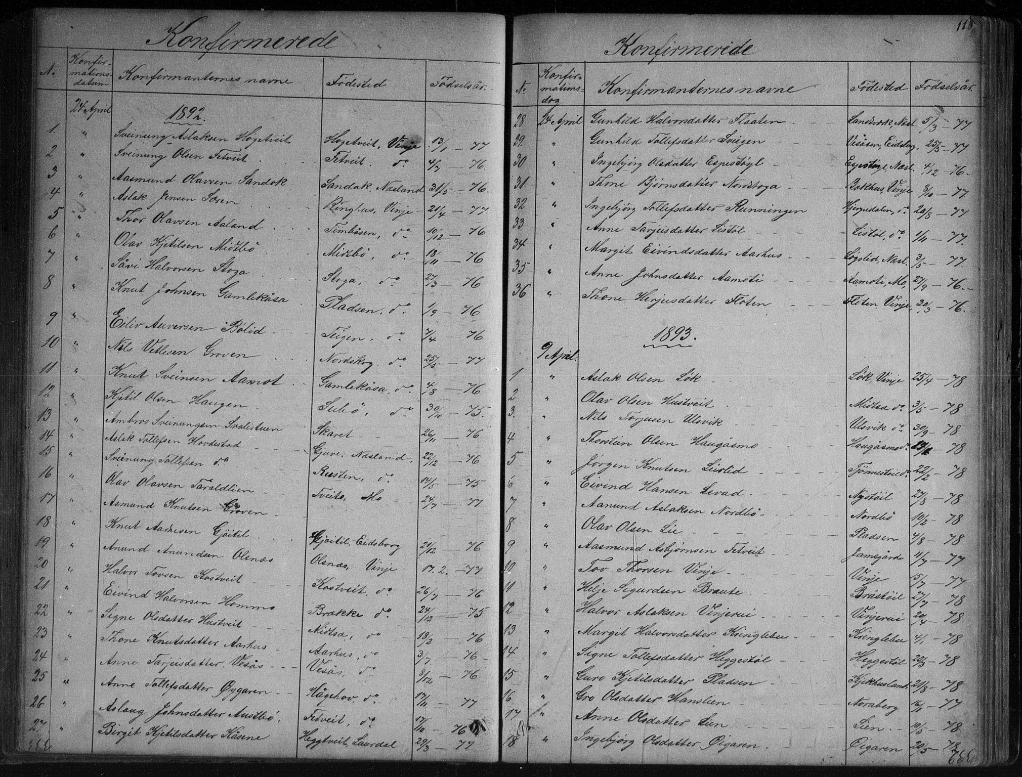 SAKO, Vinje kirkebøker, G/Ga/L0002: Klokkerbok nr. I 2, 1849-1893, s. 118