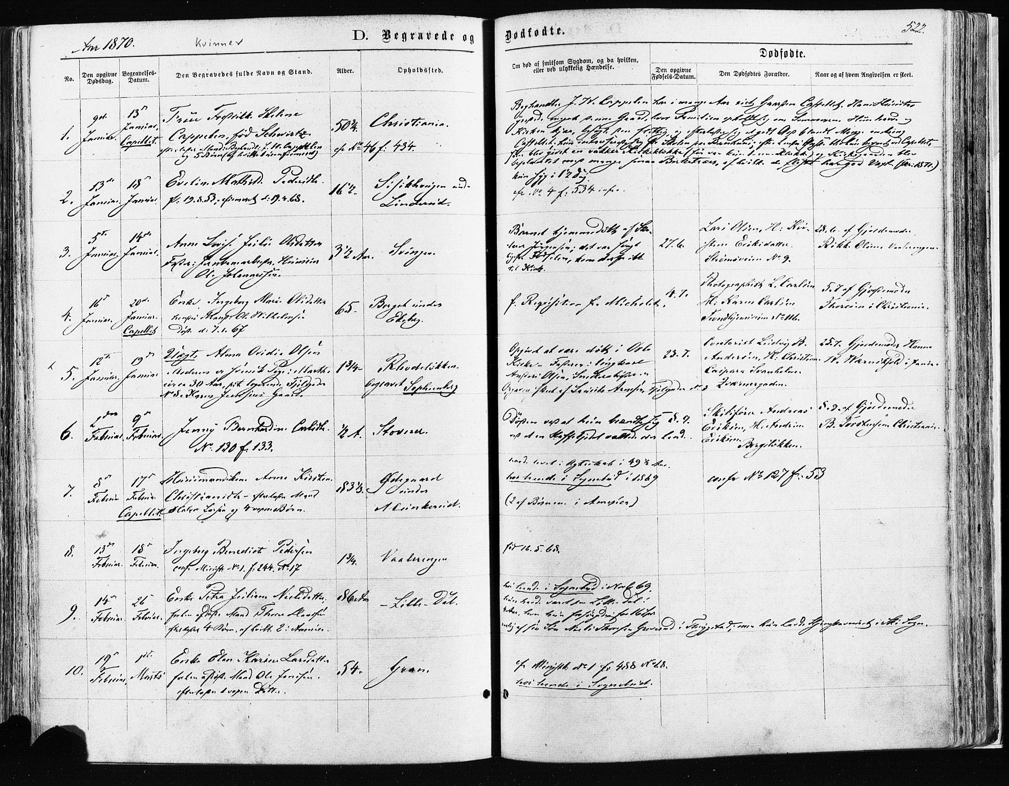 SAO, Østre Aker prestekontor Kirkebøker, F/Fa/L0003: Ministerialbok nr. I 3, 1869-1875, s. 522
