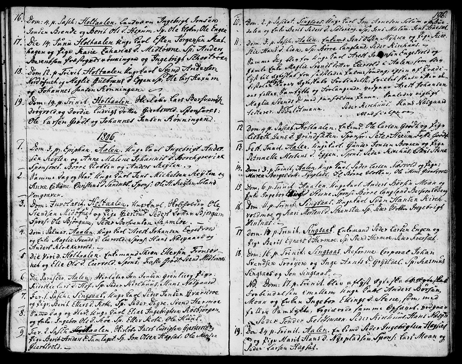 SAT, Ministerialprotokoller, klokkerbøker og fødselsregistre - Sør-Trøndelag, 685/L0953: Ministerialbok nr. 685A02, 1805-1816, s. 196