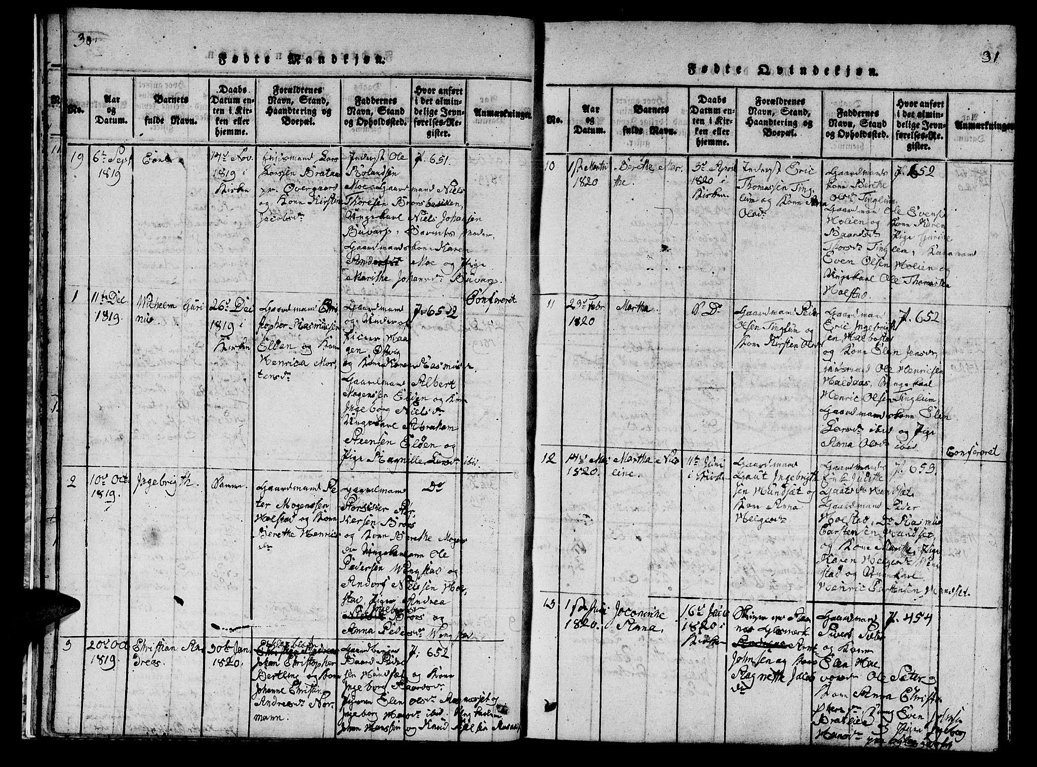 SAT, Ministerialprotokoller, klokkerbøker og fødselsregistre - Nord-Trøndelag, 742/L0411: Klokkerbok nr. 742C02, 1817-1825, s. 30-31