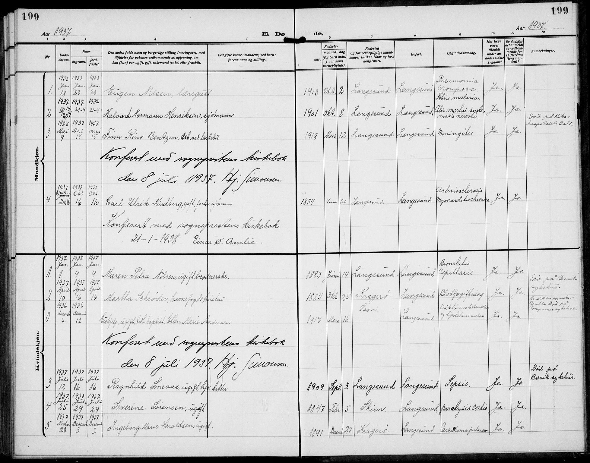SAKO, Langesund kirkebøker, G/Ga/L0007: Klokkerbok nr. 7, 1919-1939, s. 199