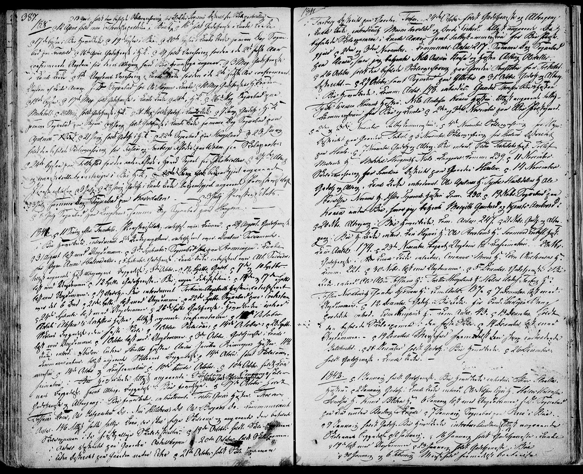 SAKO, Bø kirkebøker, F/Fa/L0007: Ministerialbok nr. 7, 1831-1848, s. 387
