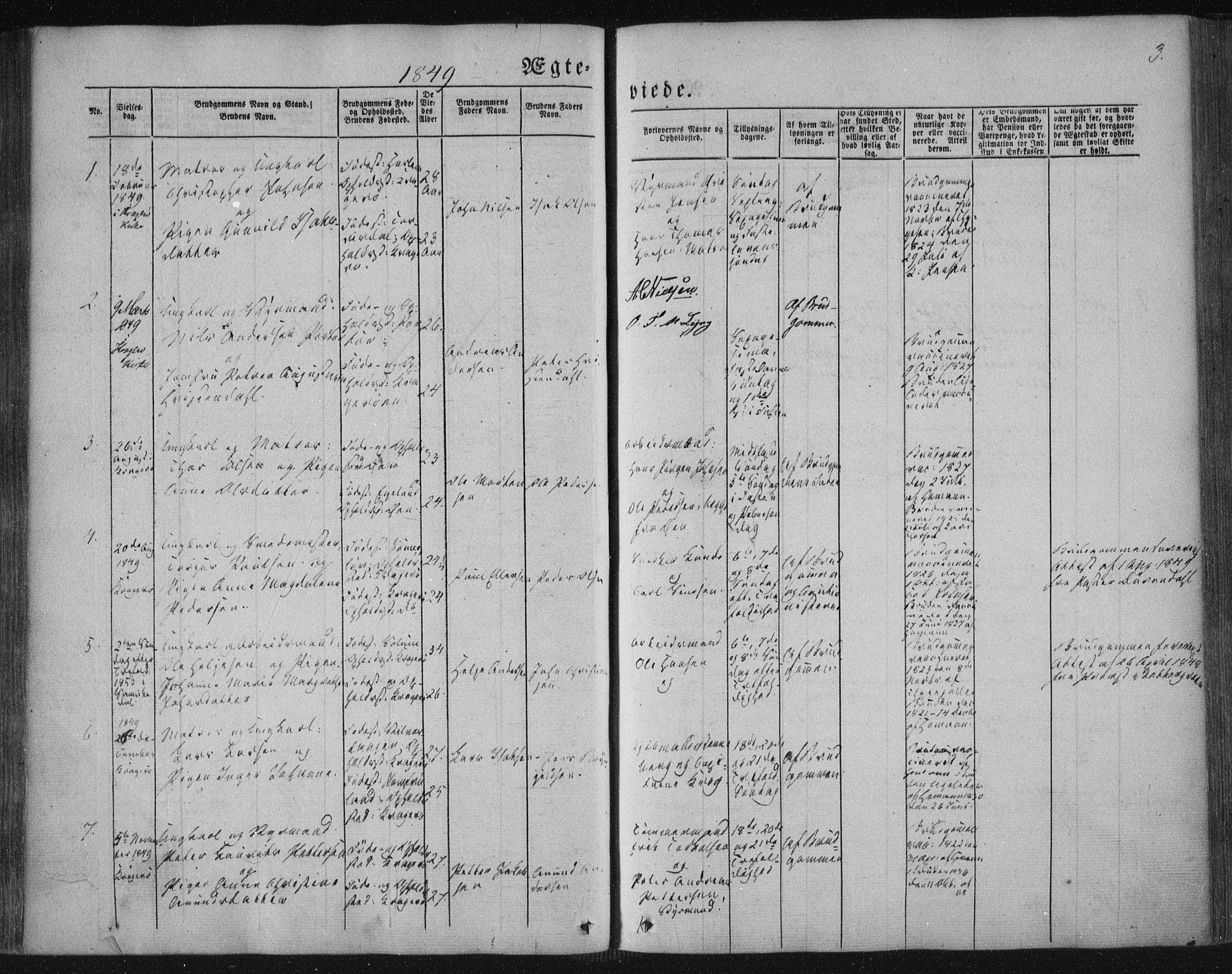 SAKO, Kragerø kirkebøker, F/Fa/L0006: Ministerialbok nr. 6, 1847-1861, s. 3