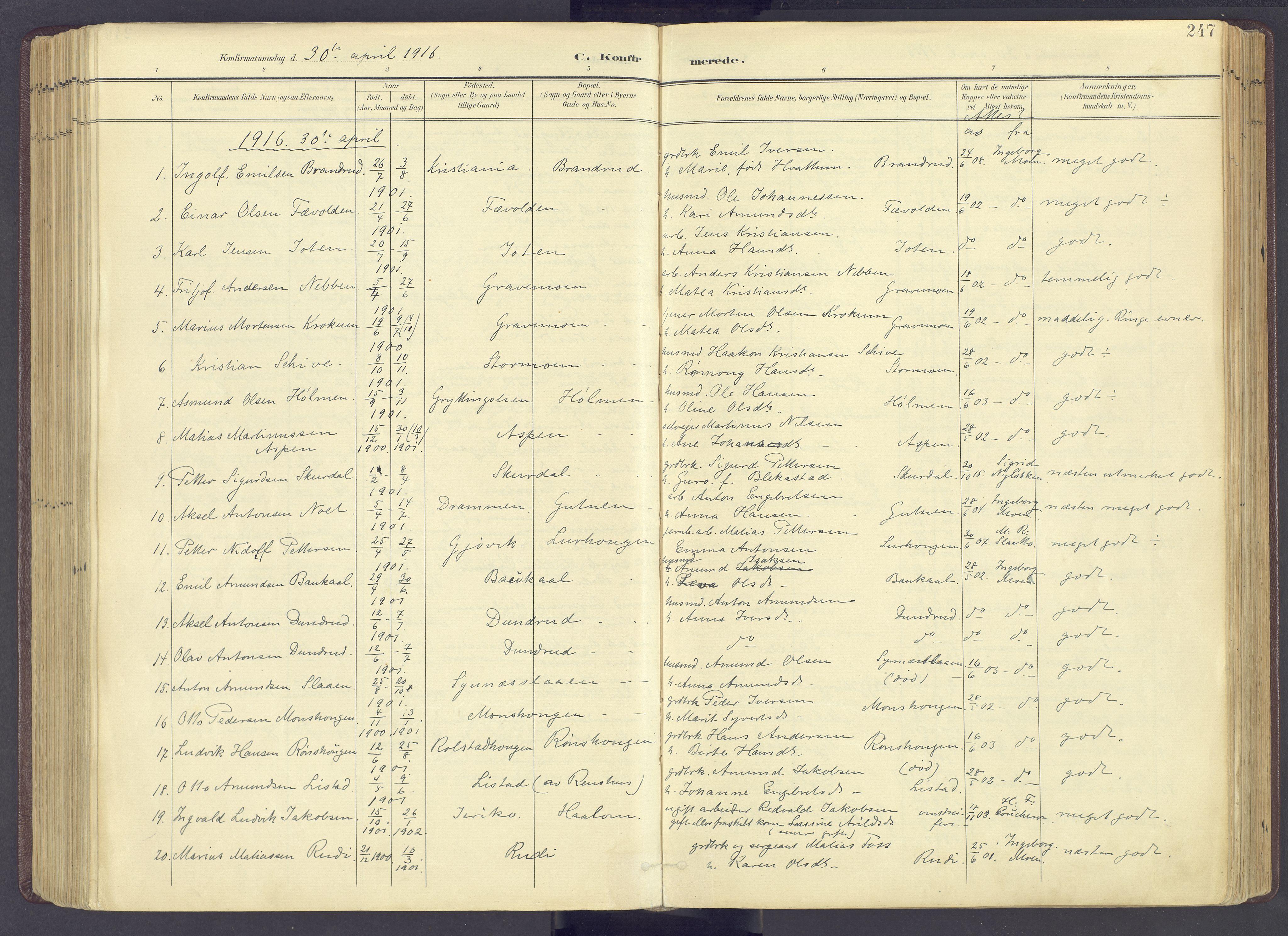 SAH, Sør-Fron prestekontor, H/Ha/Haa/L0004: Ministerialbok nr. 4, 1898-1919, s. 247
