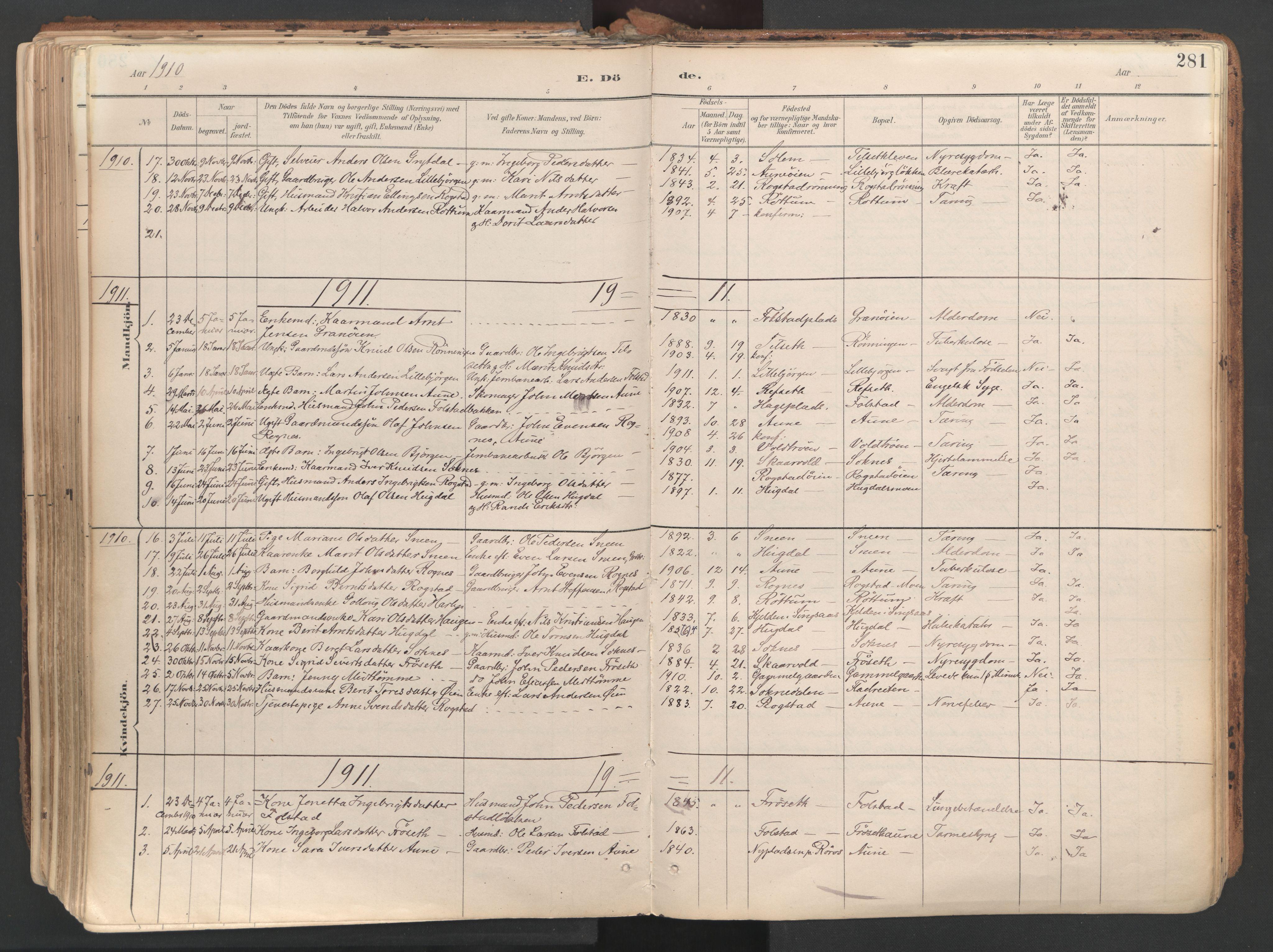 SAT, Ministerialprotokoller, klokkerbøker og fødselsregistre - Sør-Trøndelag, 687/L1004: Ministerialbok nr. 687A10, 1891-1923, s. 281