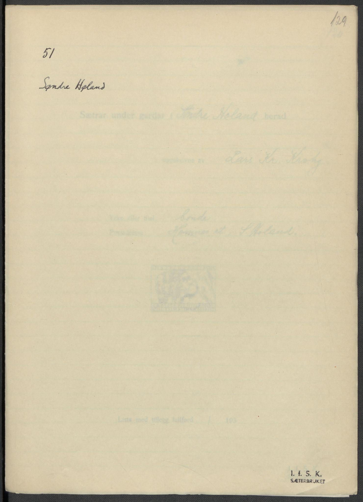 RA, Instituttet for sammenlignende kulturforskning, F/Fc/L0002: Eske B2:, 1932-1936, s. 129