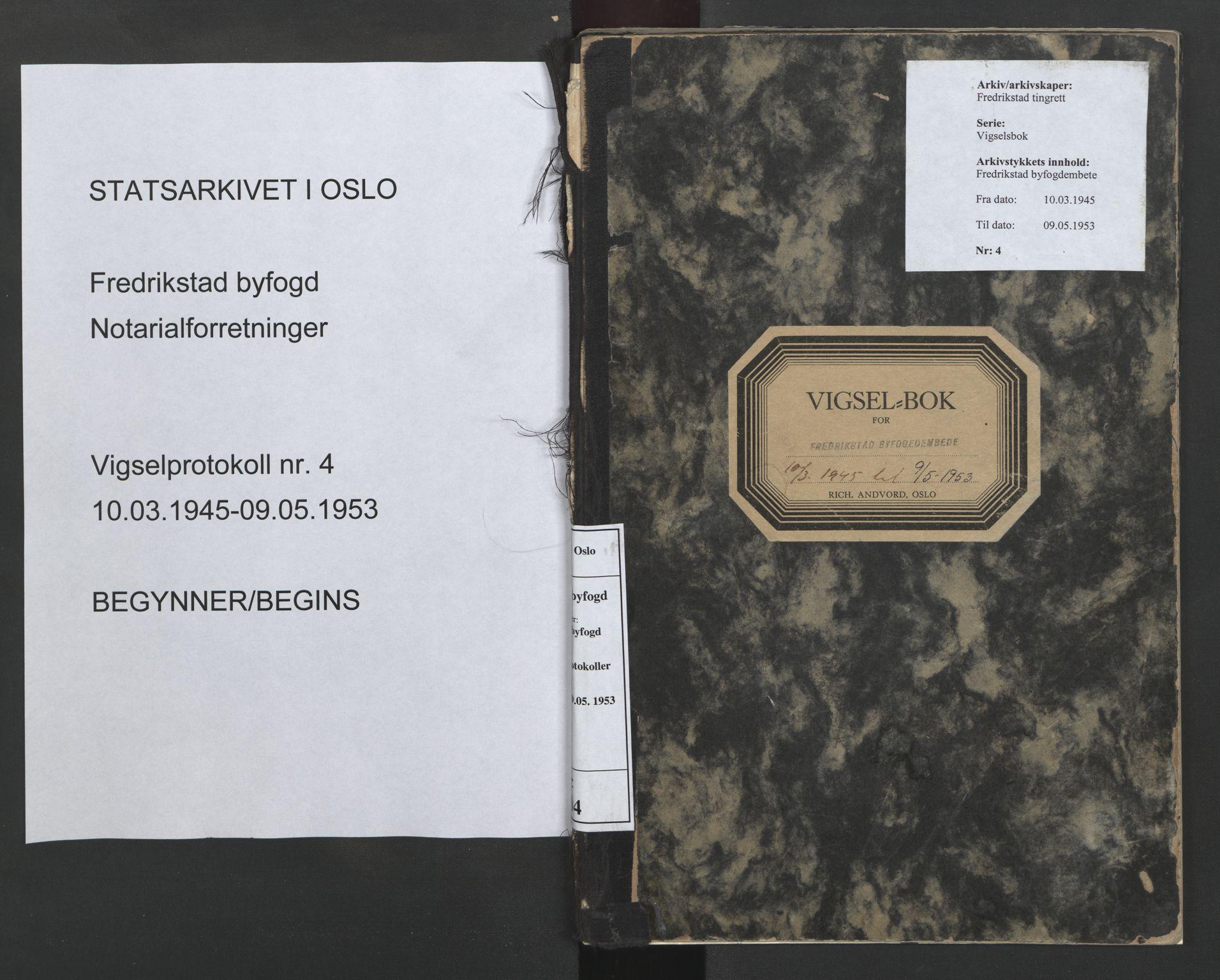 SAO, Fredrikstad byfogd, L/Lc/L0004: Vigselsbok, 1945-1953, s. upaginert
