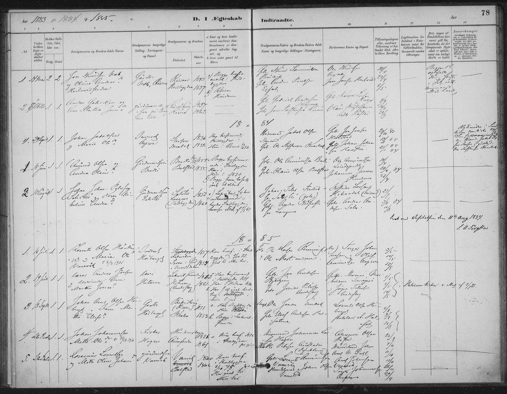 SAT, Ministerialprotokoller, klokkerbøker og fødselsregistre - Nord-Trøndelag, 702/L0023: Ministerialbok nr. 702A01, 1883-1897, s. 78