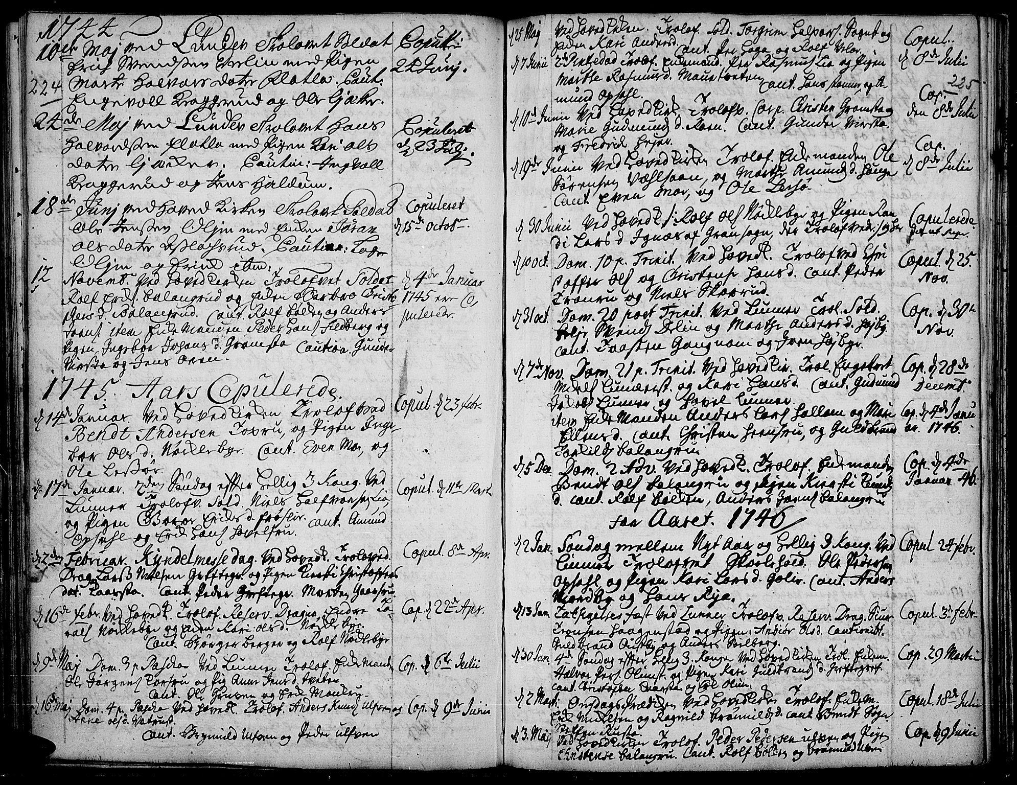 SAH, Jevnaker prestekontor, Ministerialbok nr. 2, 1725-1751, s. 224-225