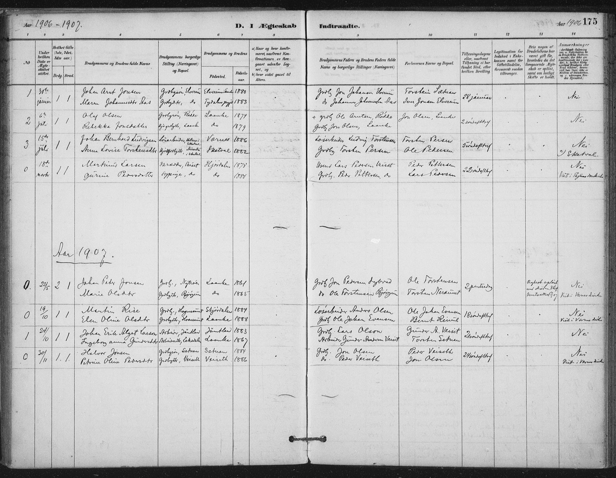 SAT, Ministerialprotokoller, klokkerbøker og fødselsregistre - Nord-Trøndelag, 710/L0095: Ministerialbok nr. 710A01, 1880-1914, s. 175
