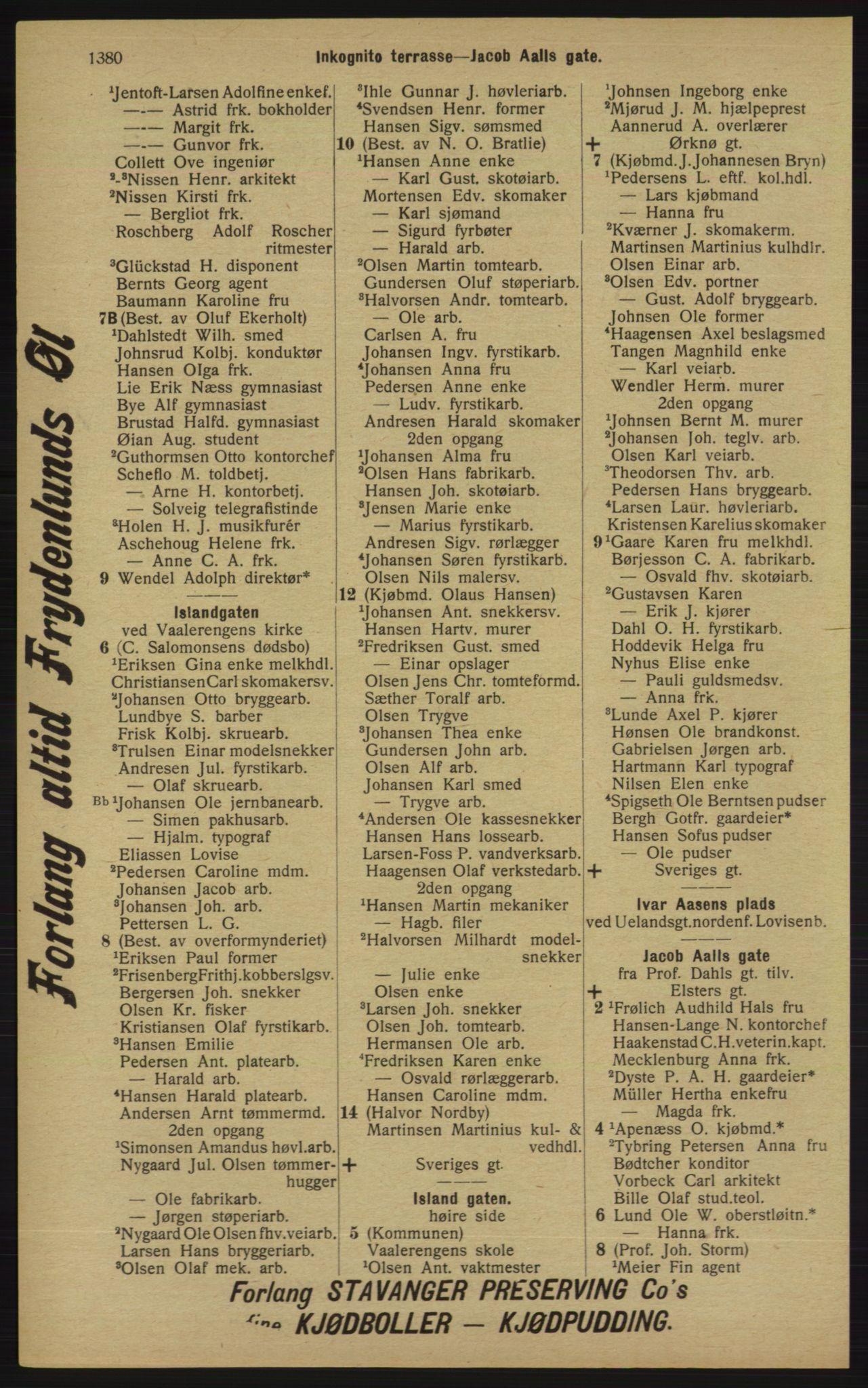 RA, Kristiania adressebok (publikasjon)*, 1913, s. 1380