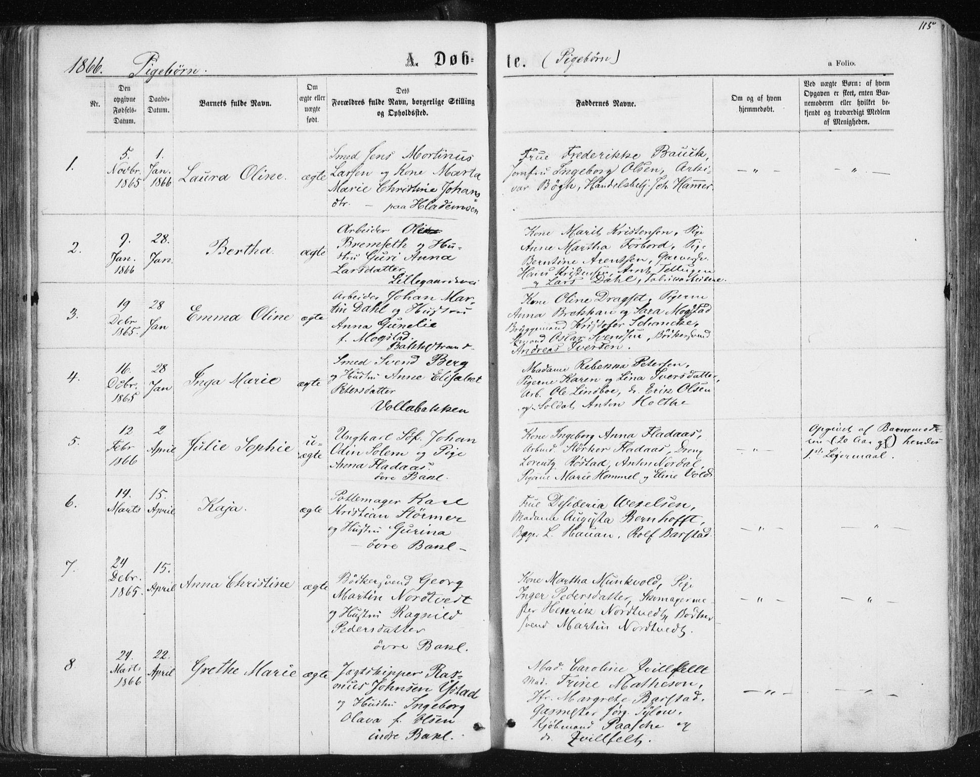 SAT, Ministerialprotokoller, klokkerbøker og fødselsregistre - Sør-Trøndelag, 604/L0186: Ministerialbok nr. 604A07, 1866-1877, s. 115